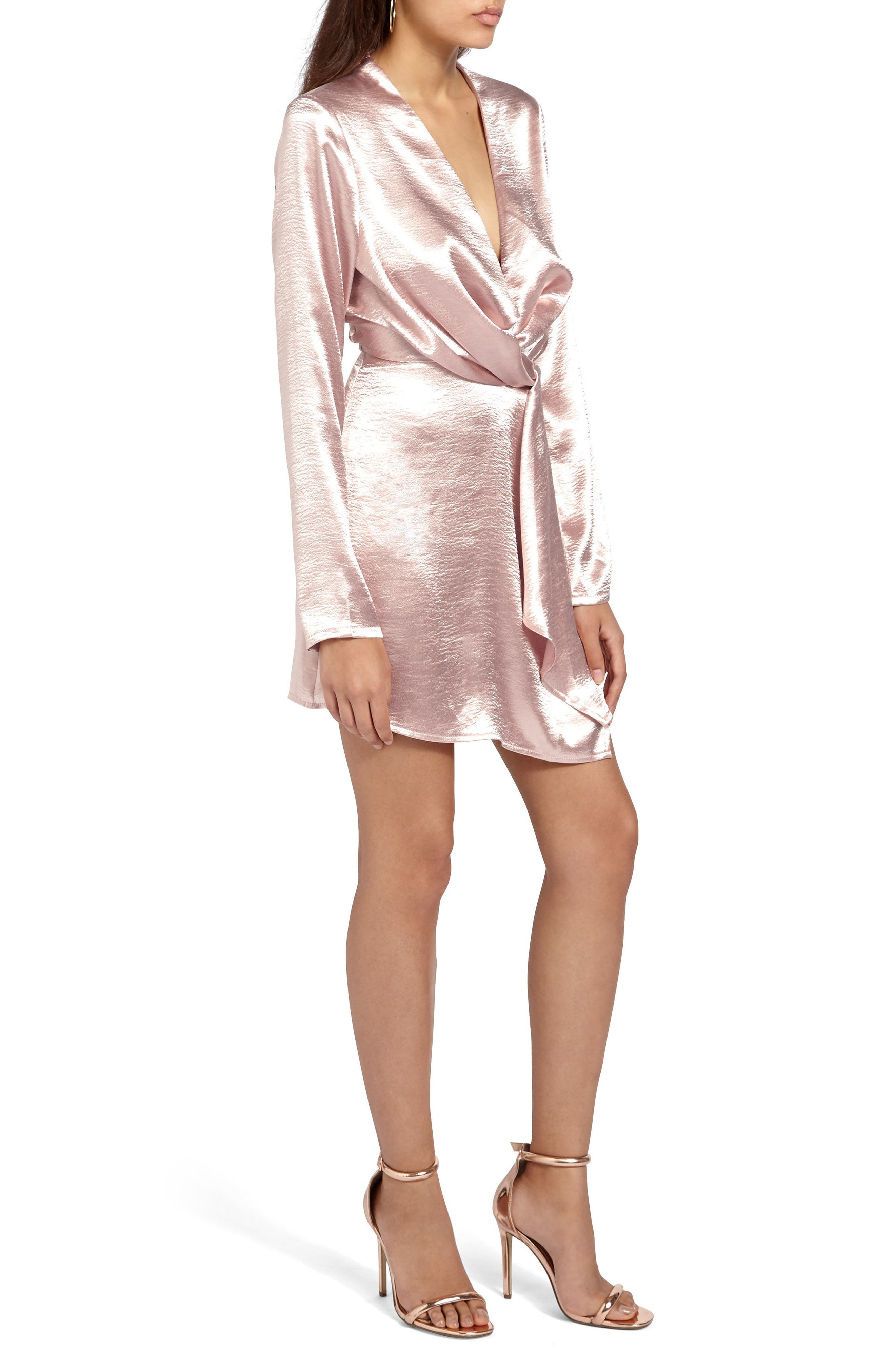Alternate Image 3  - Missguided Satin Wrap Minidress