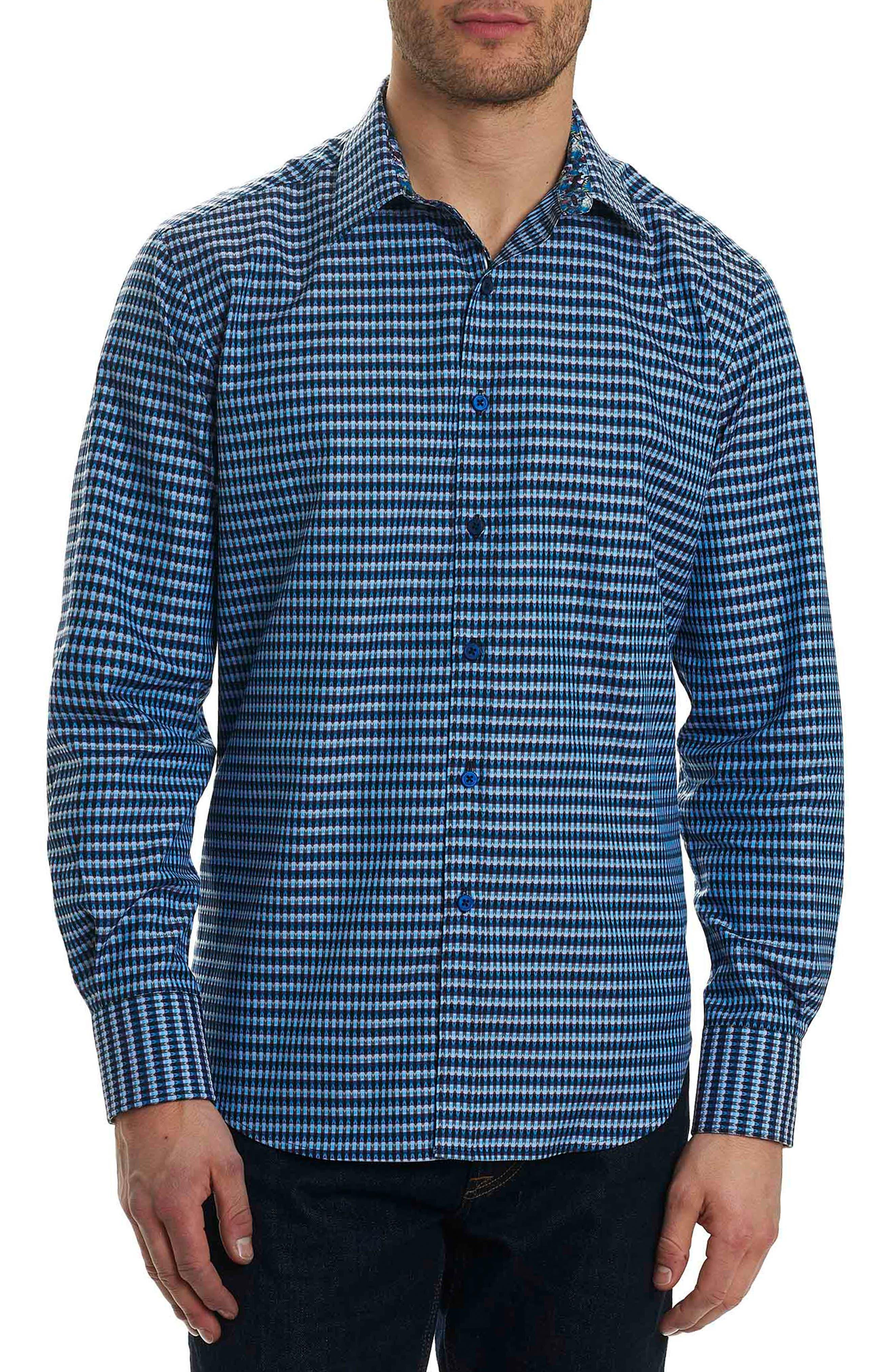 Hill Punch Classic Fit Print Sport Shirt,                             Main thumbnail 1, color,                             Navy