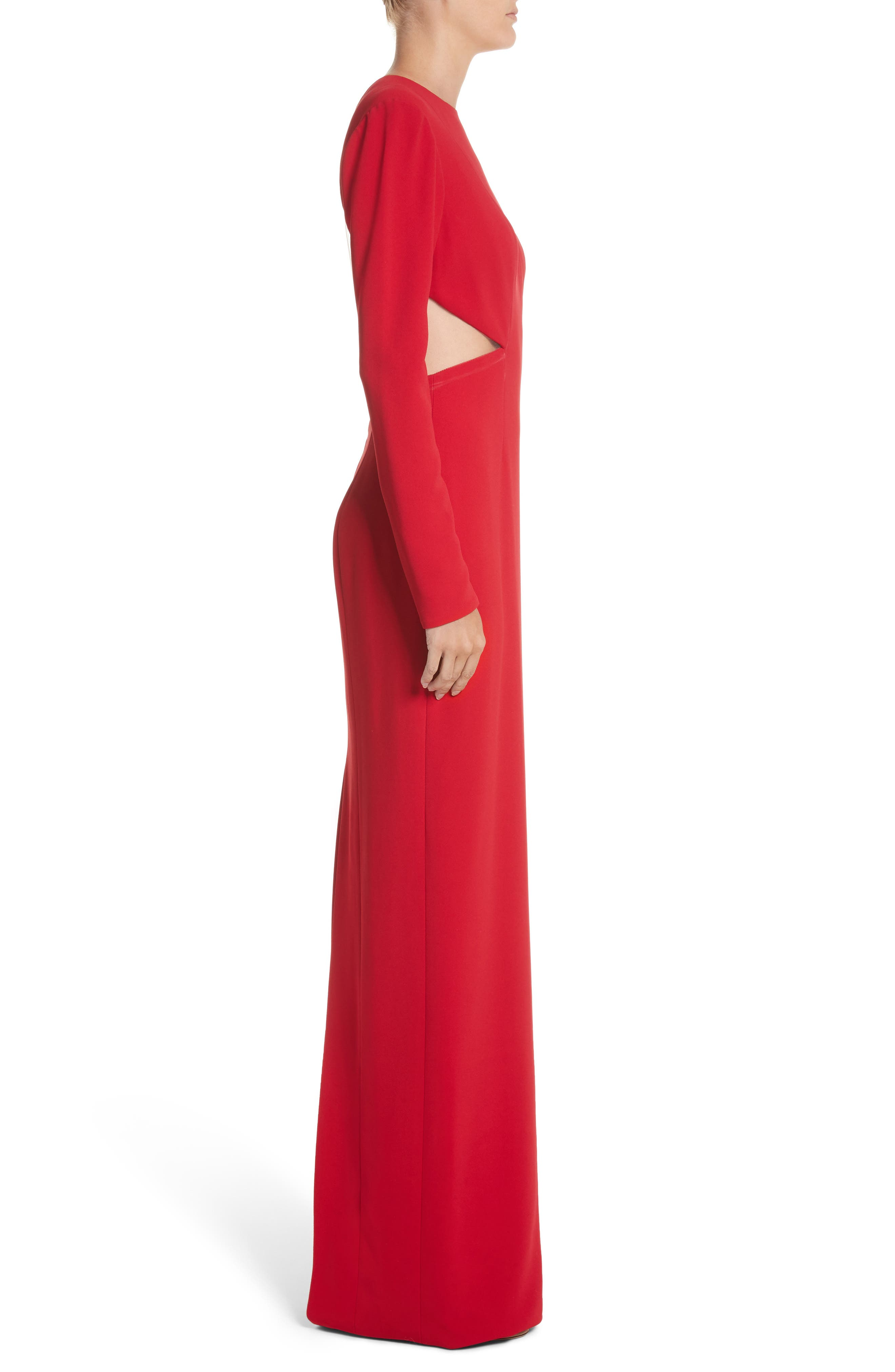 Illusion Back Stretch Crepe Gown,                             Alternate thumbnail 3, color,                             Red