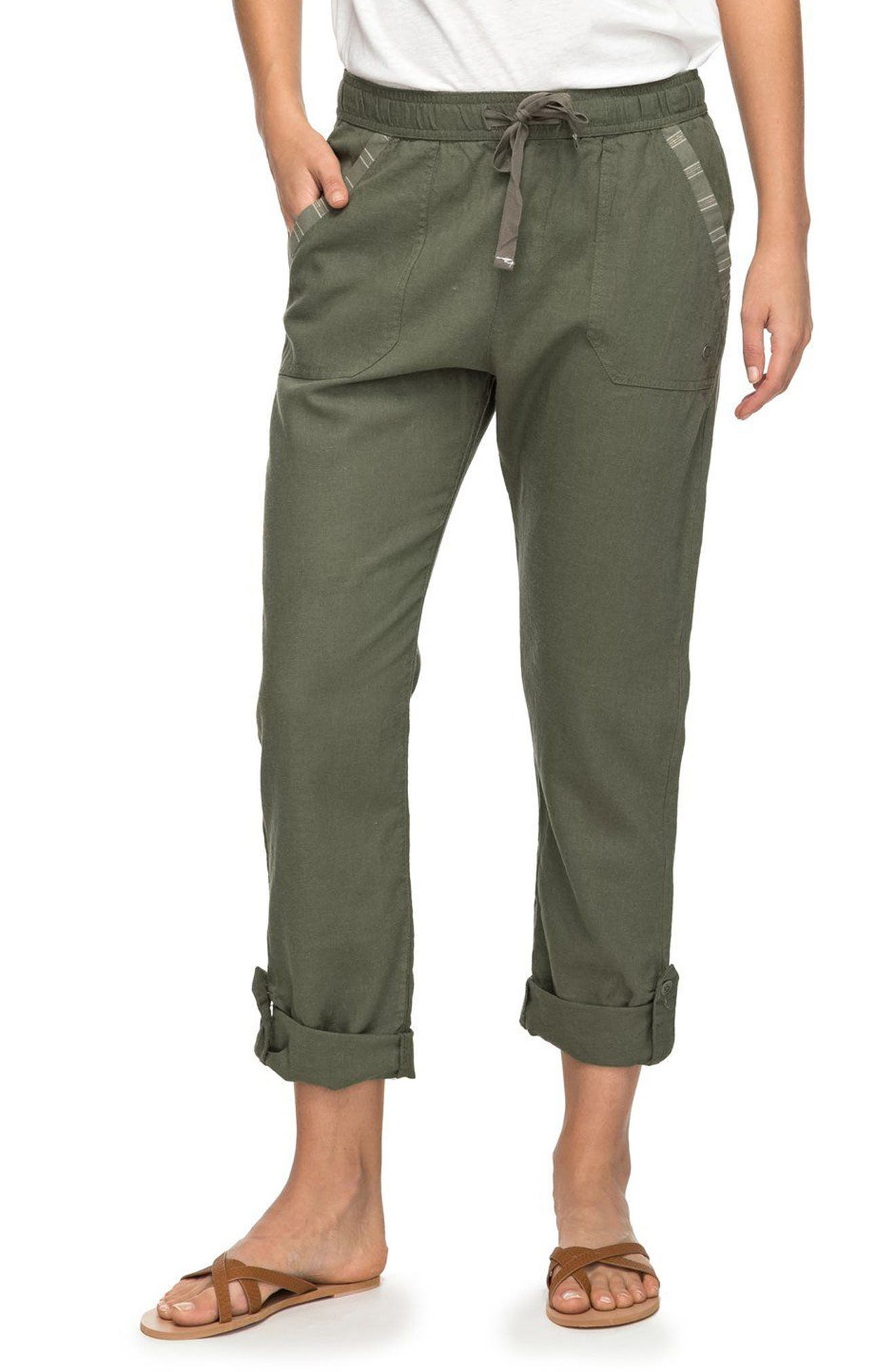 Symphony Lover Linen Blend Pants,                             Main thumbnail 1, color,                             Dusty Olive