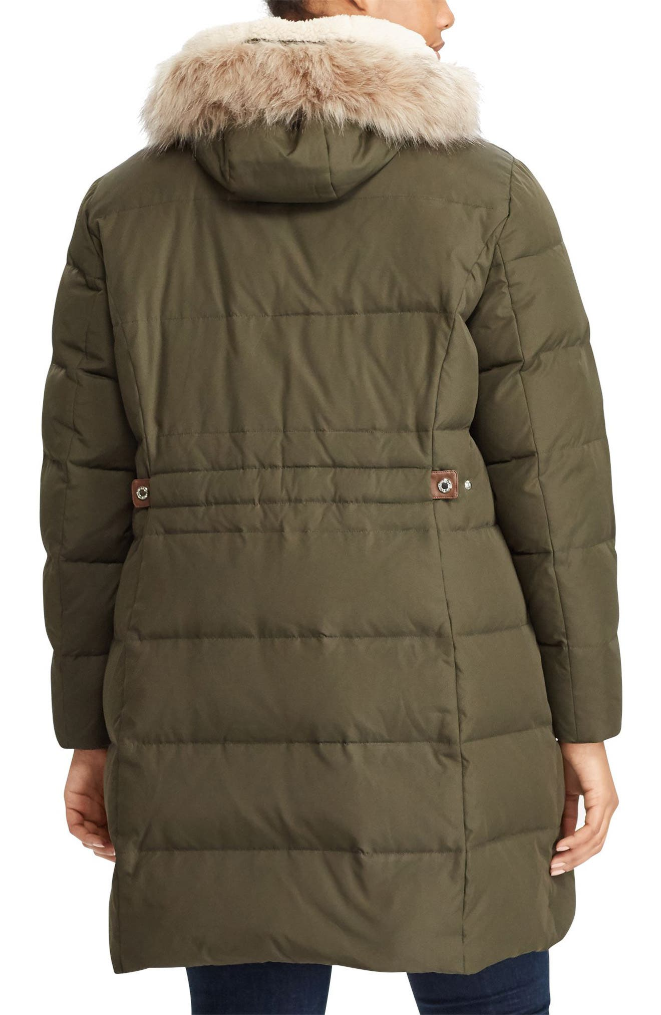 Quilted Down & Feather Fill Parka with Faux Fur Trim,                             Alternate thumbnail 2, color,                             Litchfield Loden