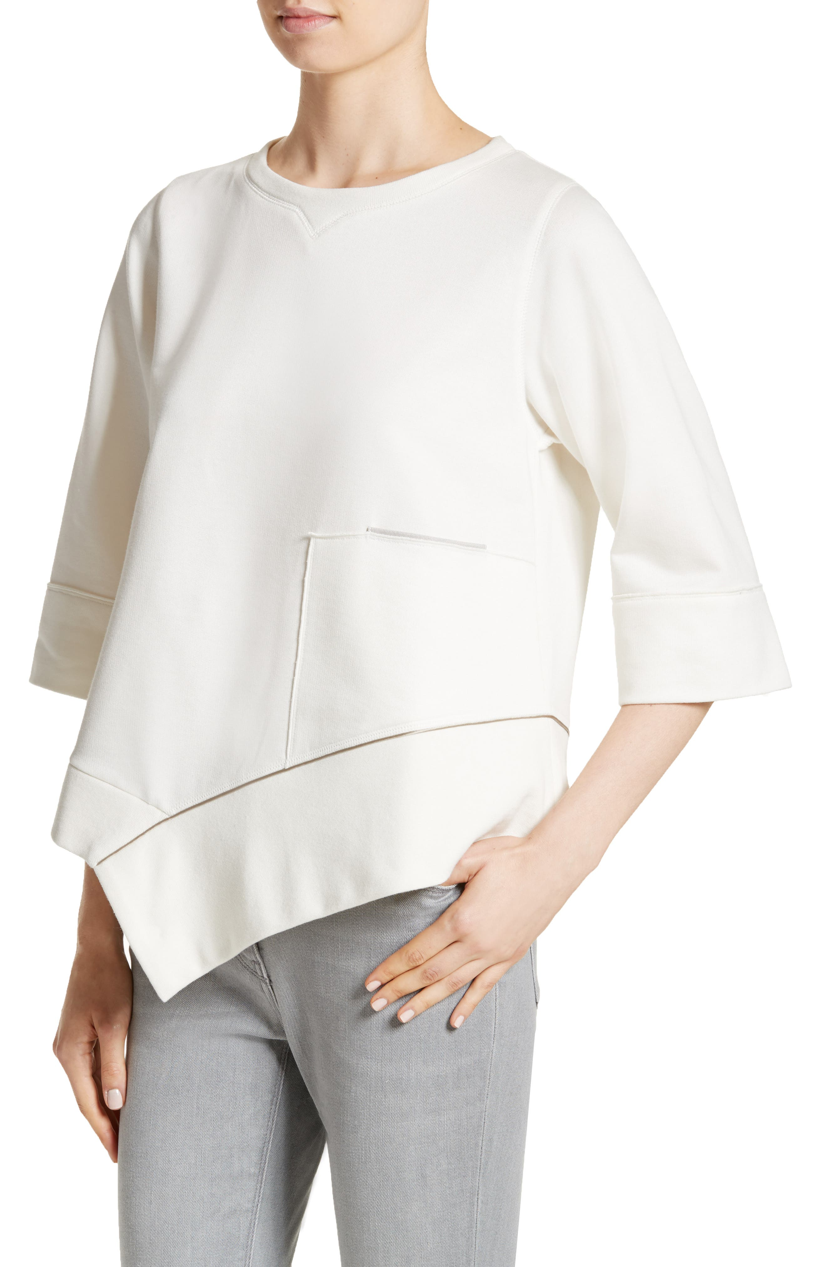 Asymmetrical Cotton Sweatshirt,                             Alternate thumbnail 3, color,                             Ivory