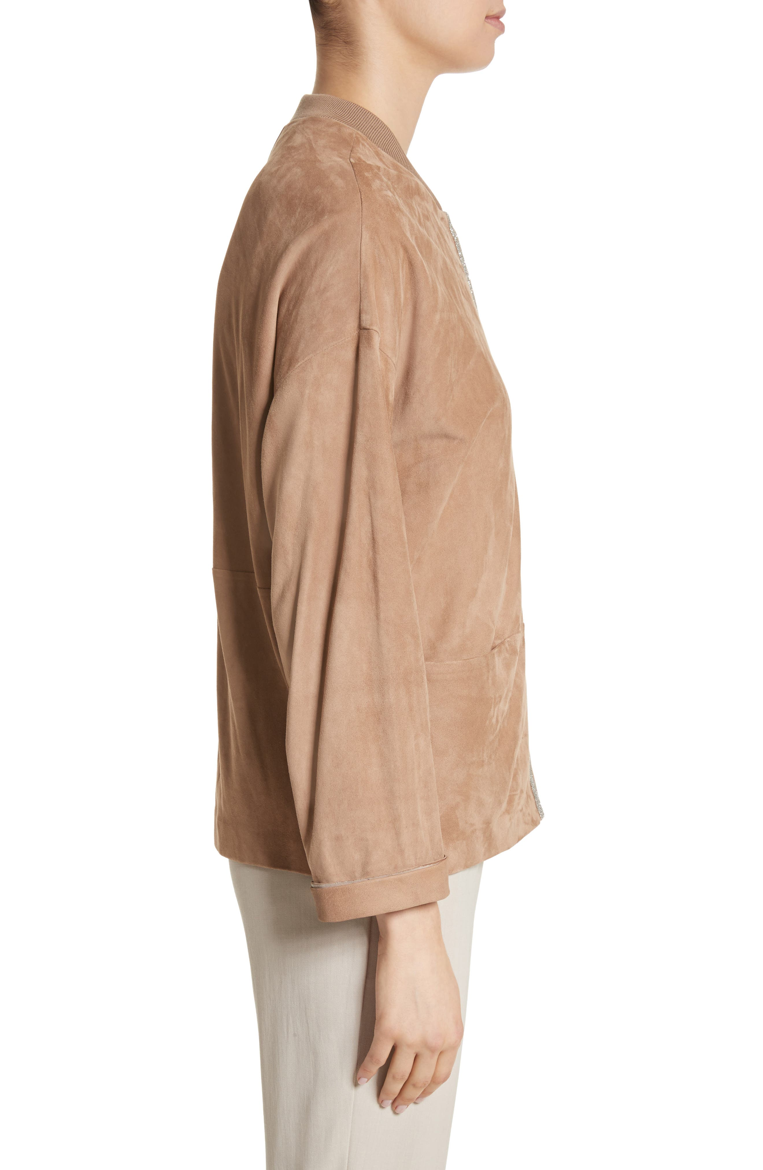 Beaded Suede Jacket,                             Alternate thumbnail 3, color,                             Camel