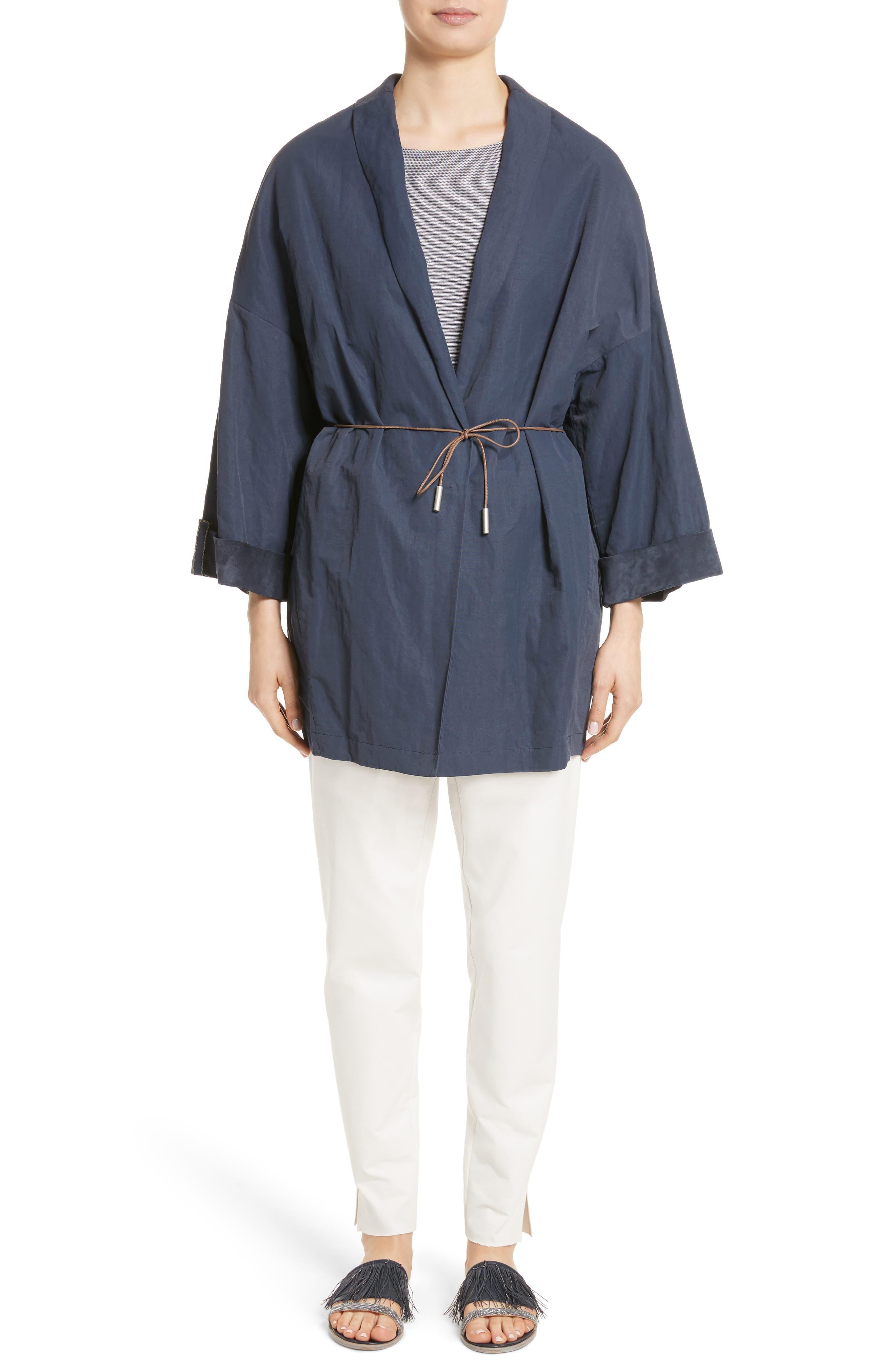 Suede & Cotton Blend Kimono Jacket,                             Alternate thumbnail 8, color,                             Navy