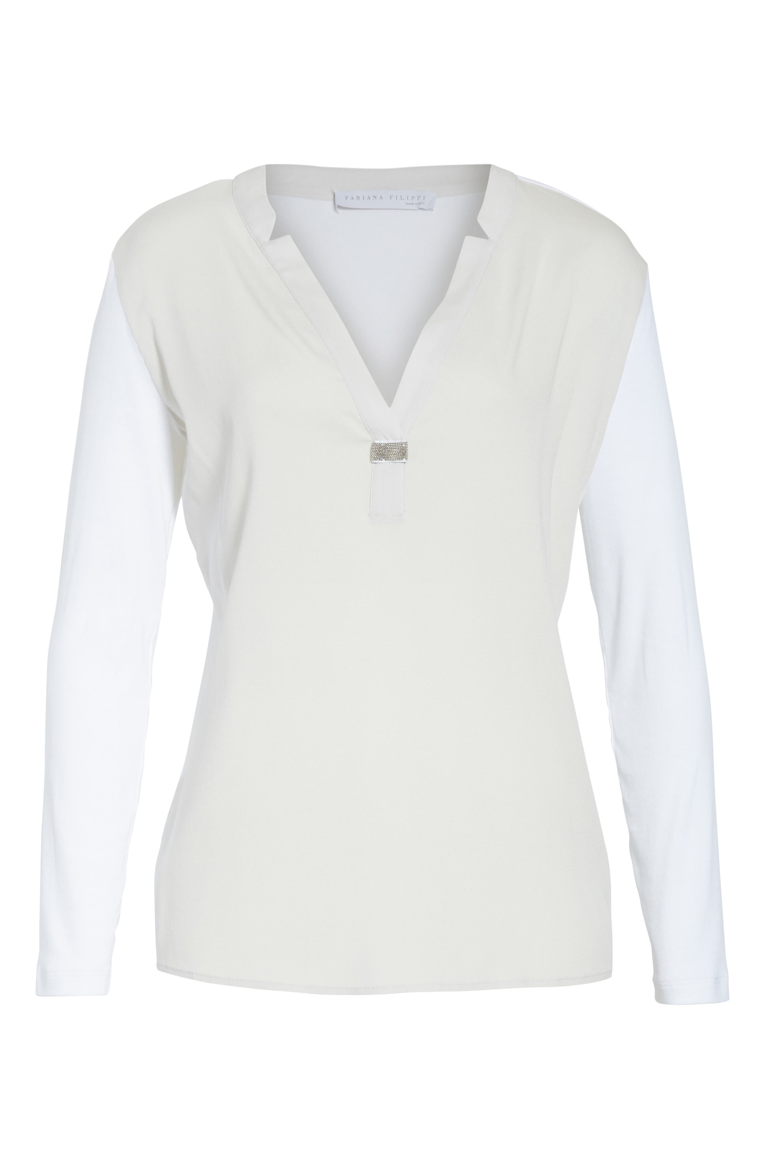 Crêpe de Chine & Ribbed Jersey Blouse,                             Alternate thumbnail 7, color,                             Pearl Grey