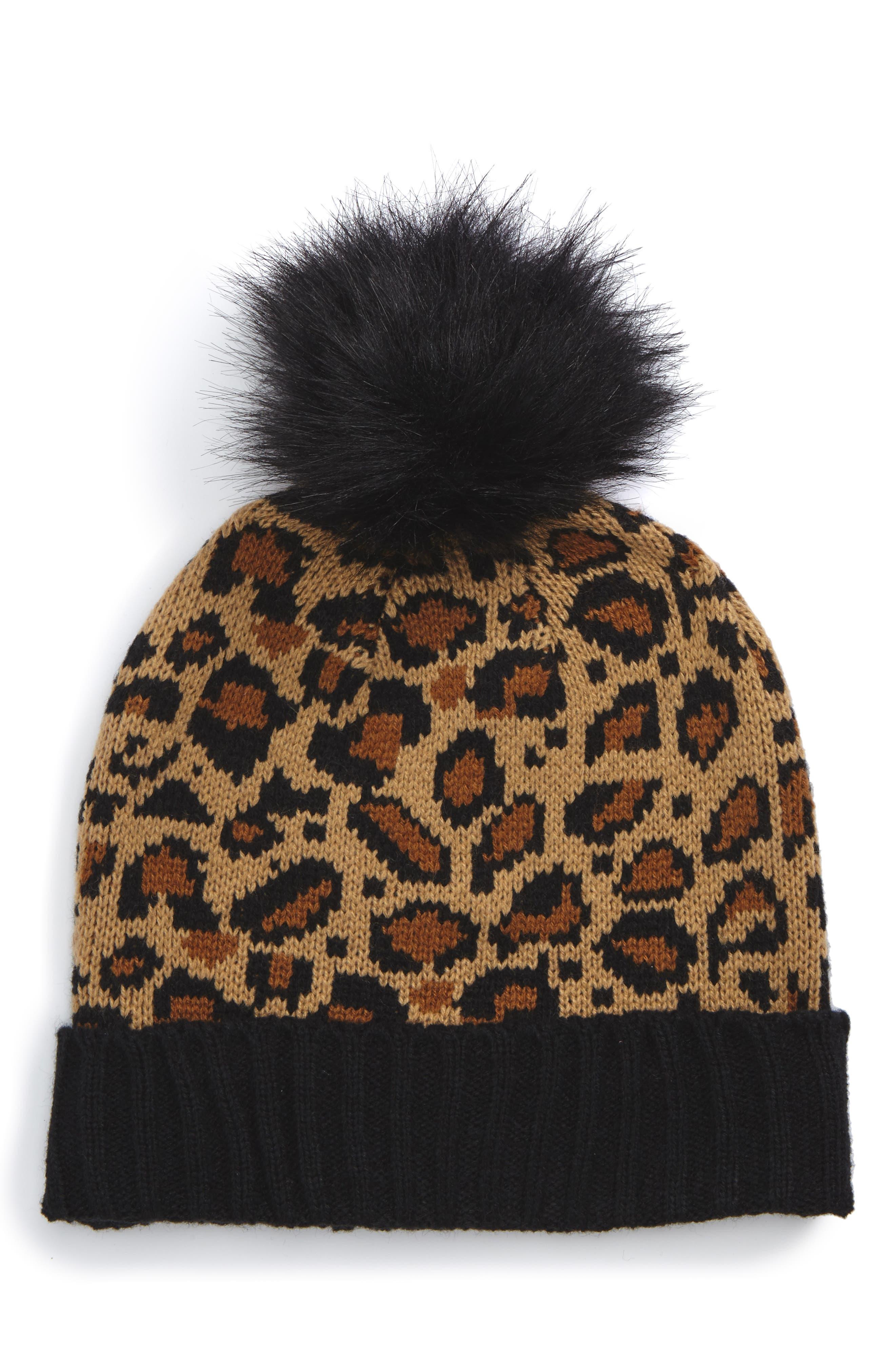 Leopard Pompom Beanie,                         Main,                         color, Brown Multi
