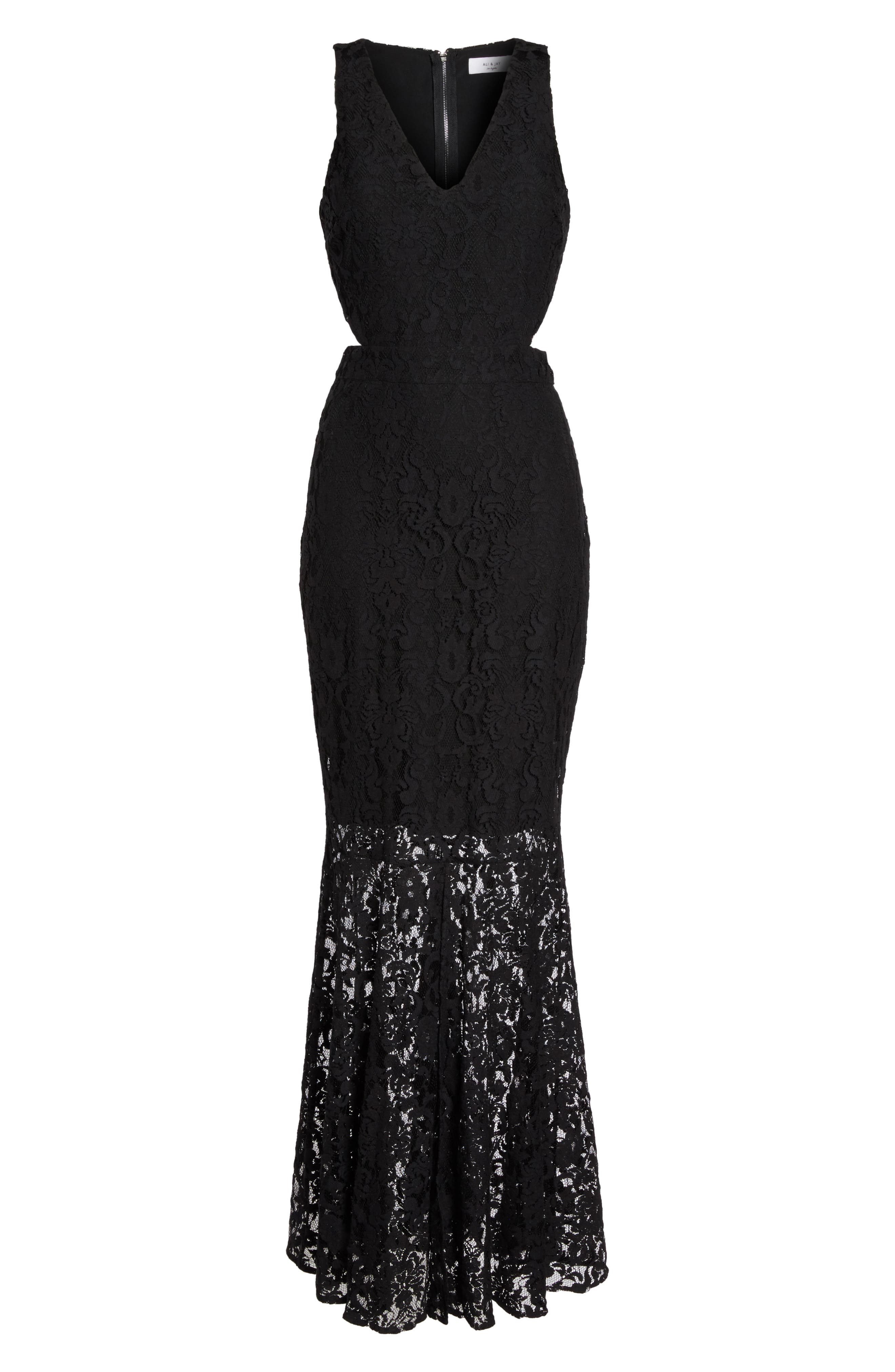 Beautiful People Cutout Lace Gown,                             Alternate thumbnail 7, color,                             Black