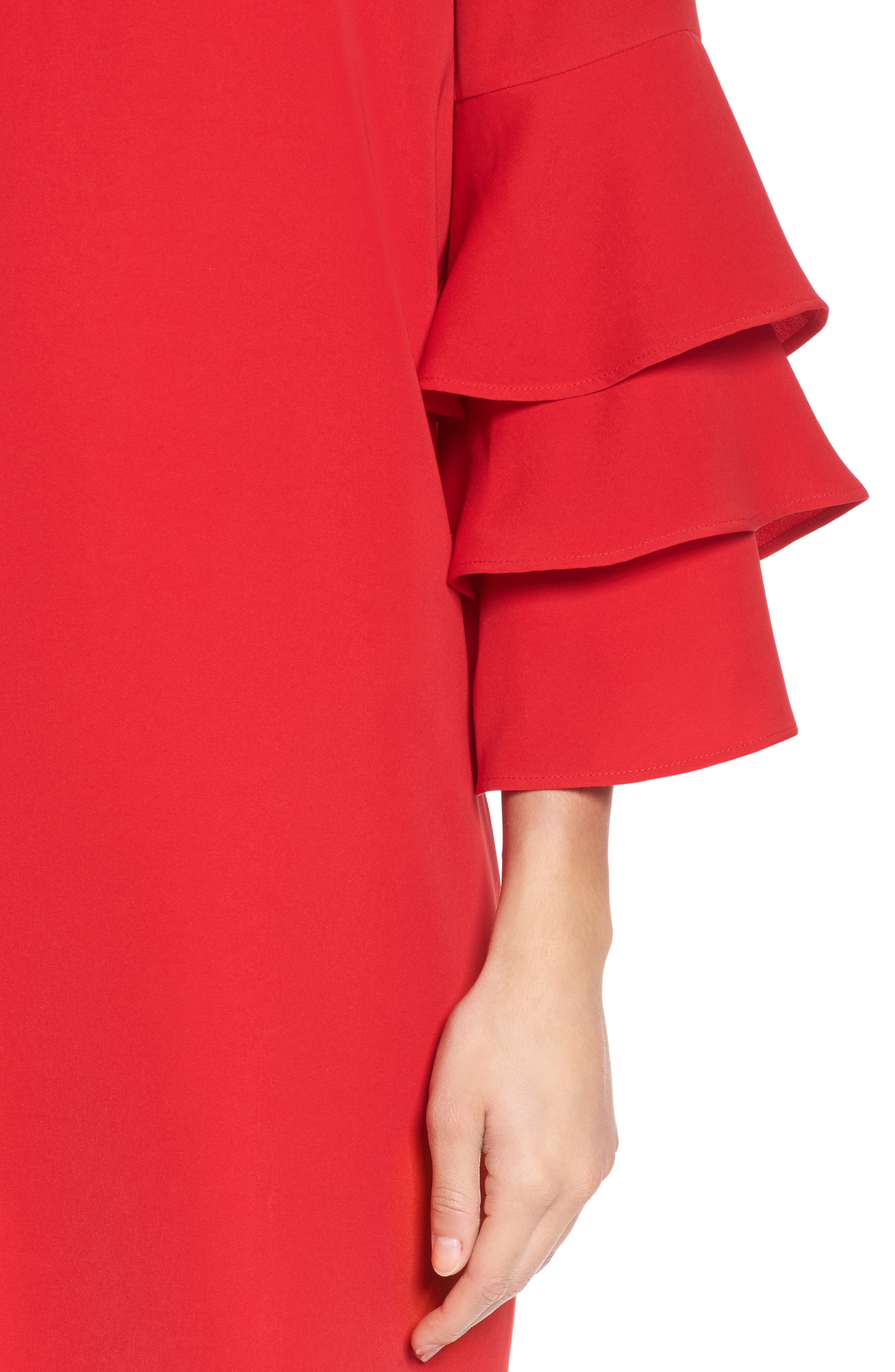 Ruffle Sleeve Shift Dress,                             Alternate thumbnail 4, color,                             Red Mars