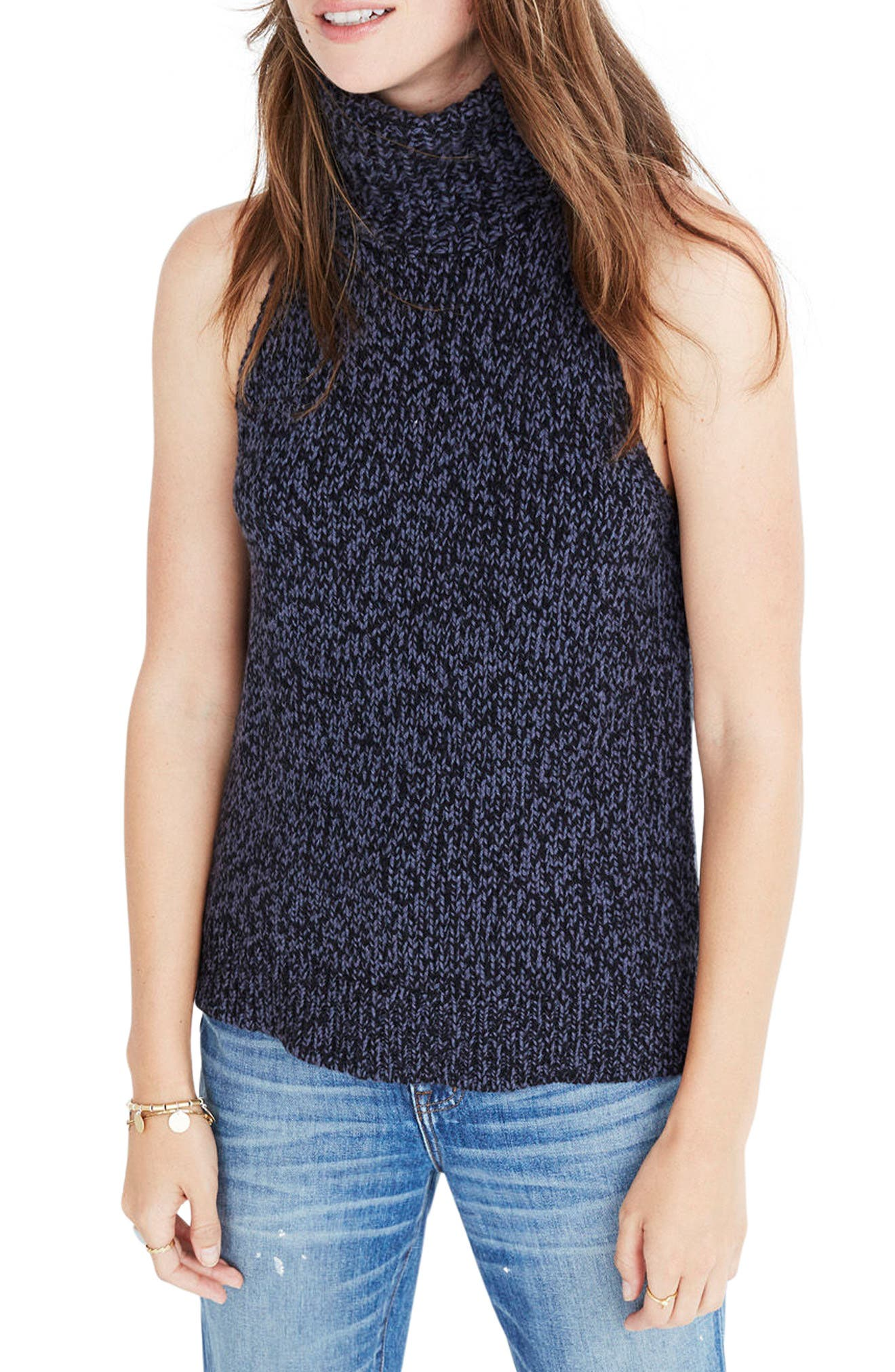Main Image - Madewell Marled Sleeveless Turtleneck Sweater