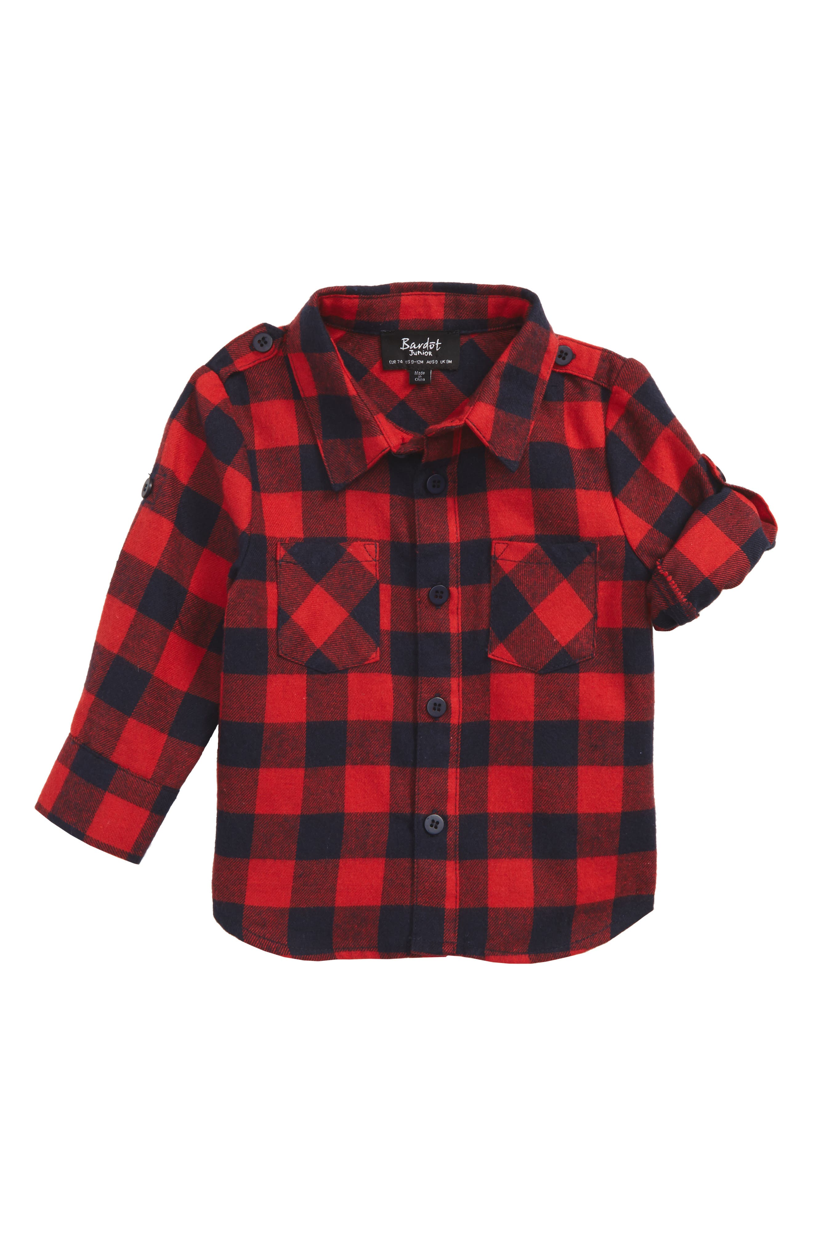 Lucky Check Woven Shirt,                             Main thumbnail 1, color,                             Red/ Navy