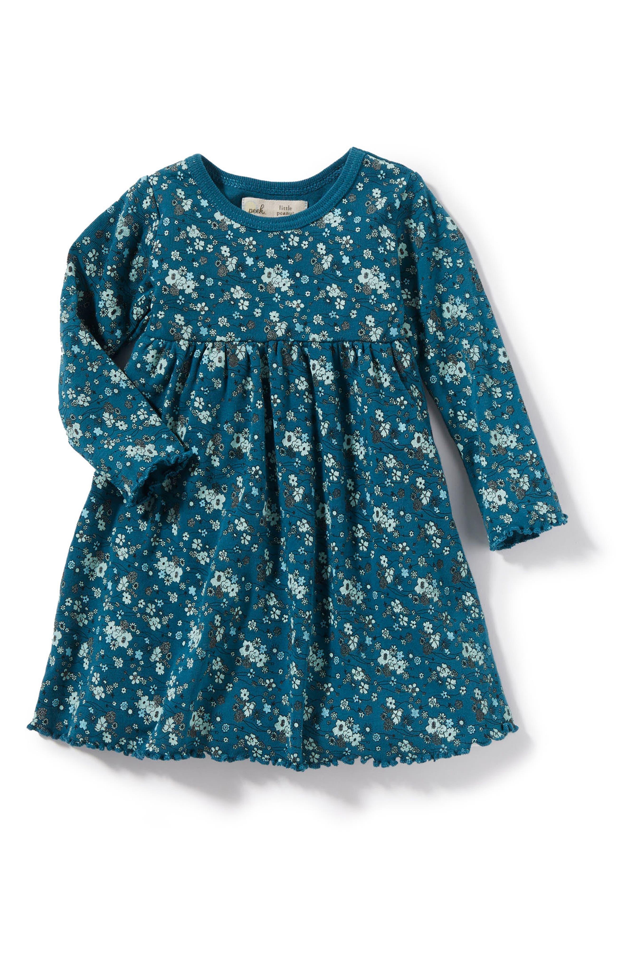 Peek Floral Print Dress,                         Main,                         color, Teal