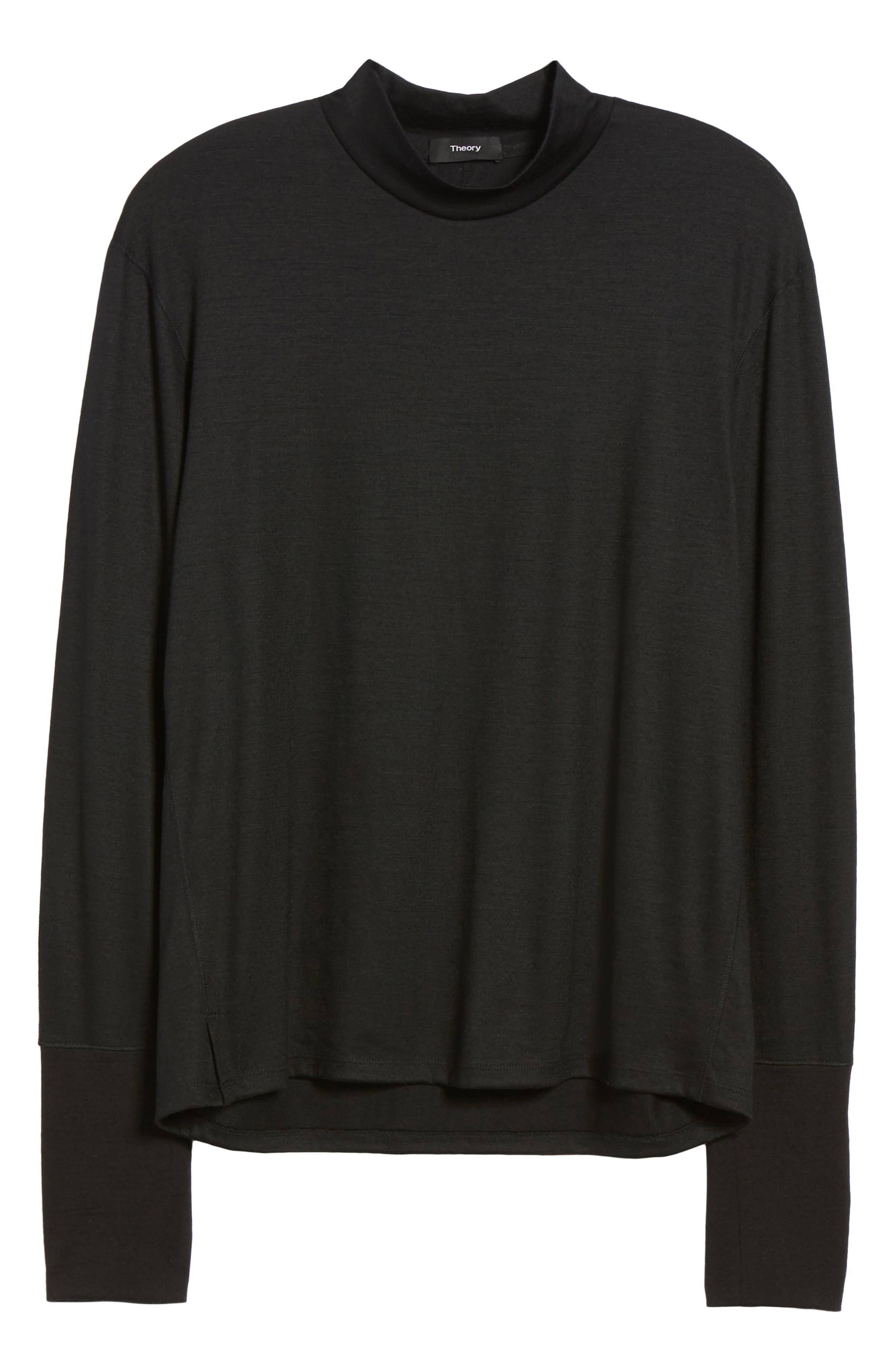Mock Neck Thumbhole Wool T-Shirt,                             Alternate thumbnail 6, color,                             Black