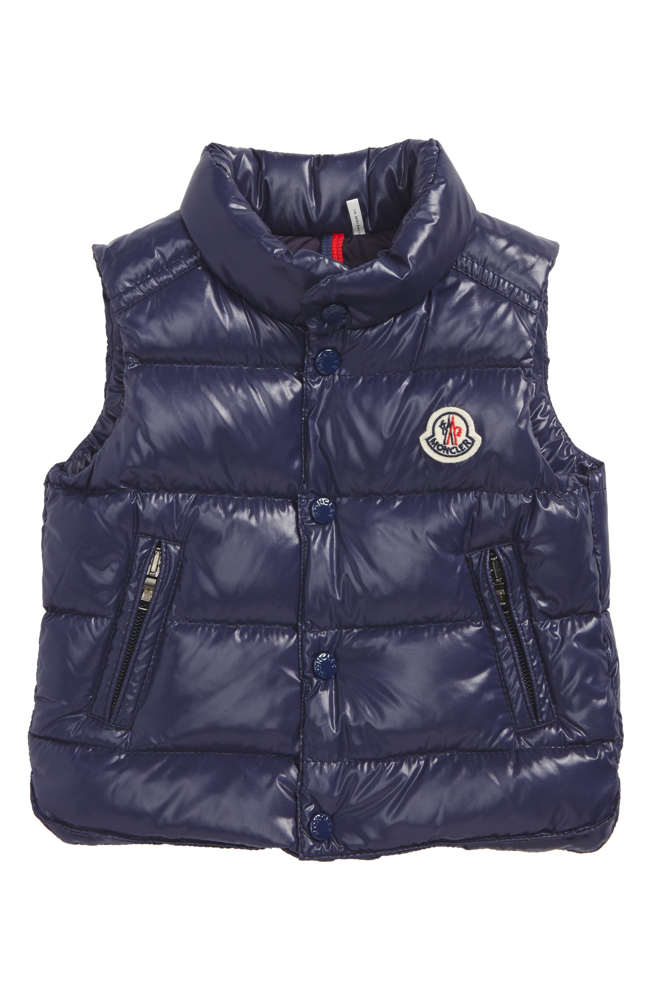 Main Image - Moncler Bernard Water-Resistant Down Puffer Vest (Baby Boys)