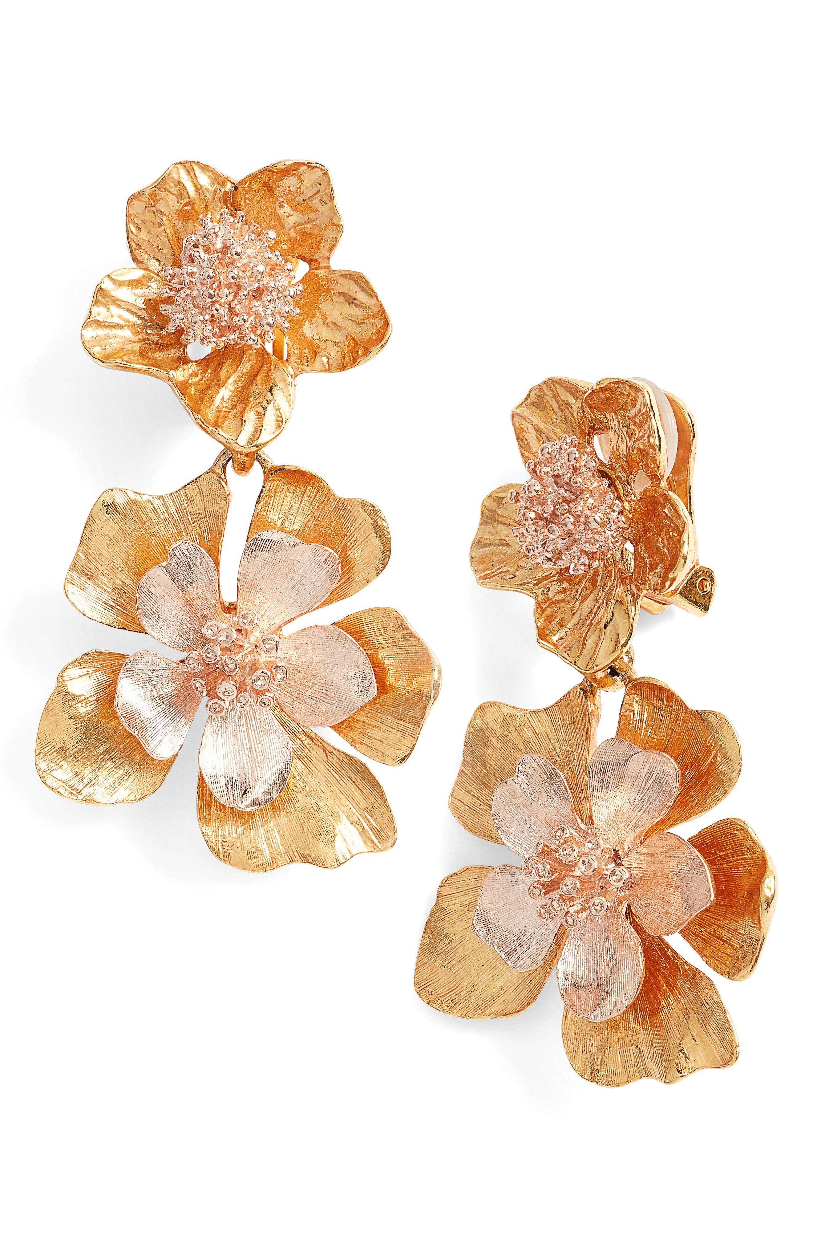Oscar de la Renta Floral Drop Clip Earrings