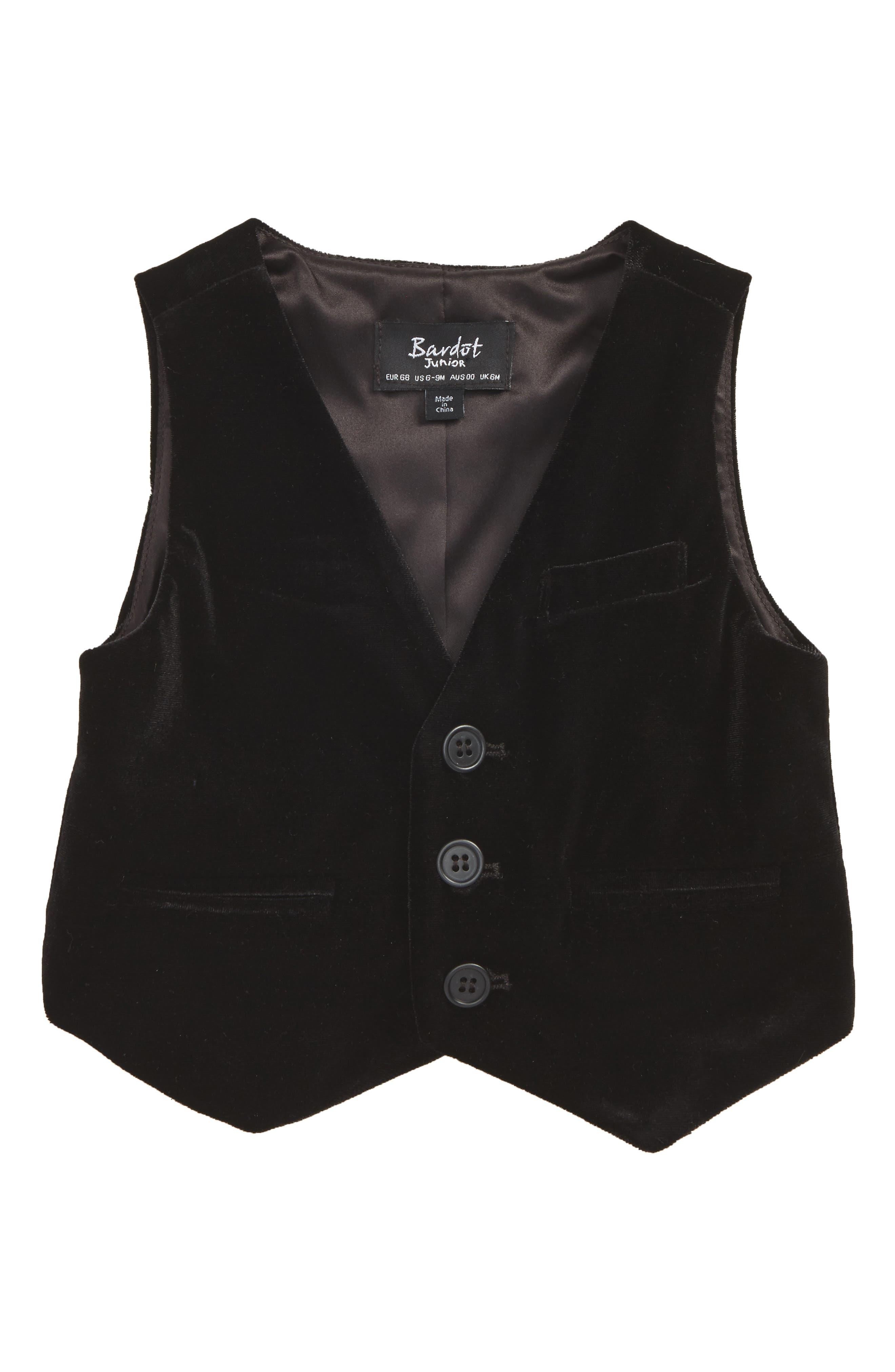 Velvet Vest,                         Main,                         color, Black