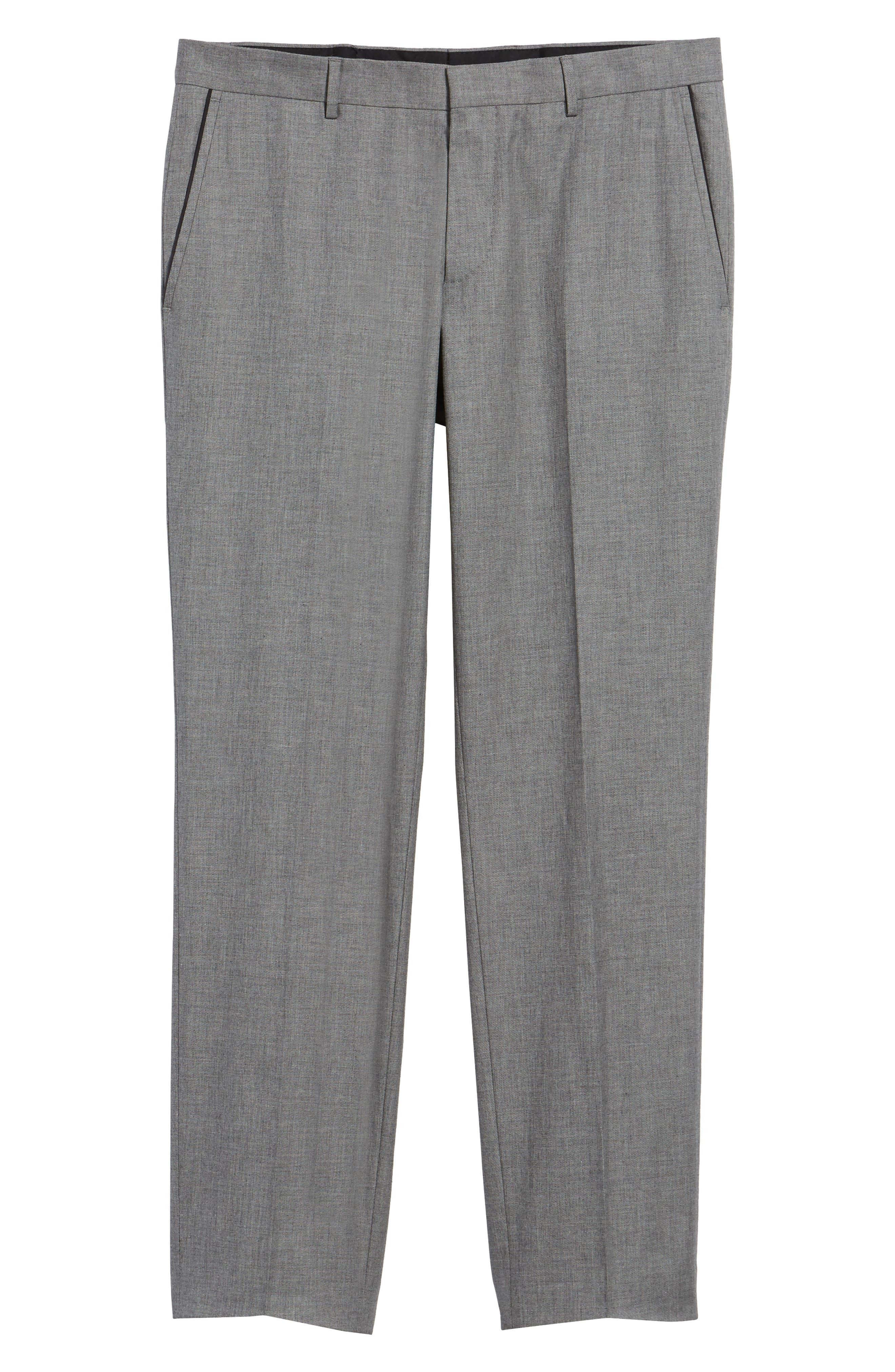 Blake Flat Front Trim Fit Solid Wool Trousers,                             Alternate thumbnail 7, color,                             Open Grey