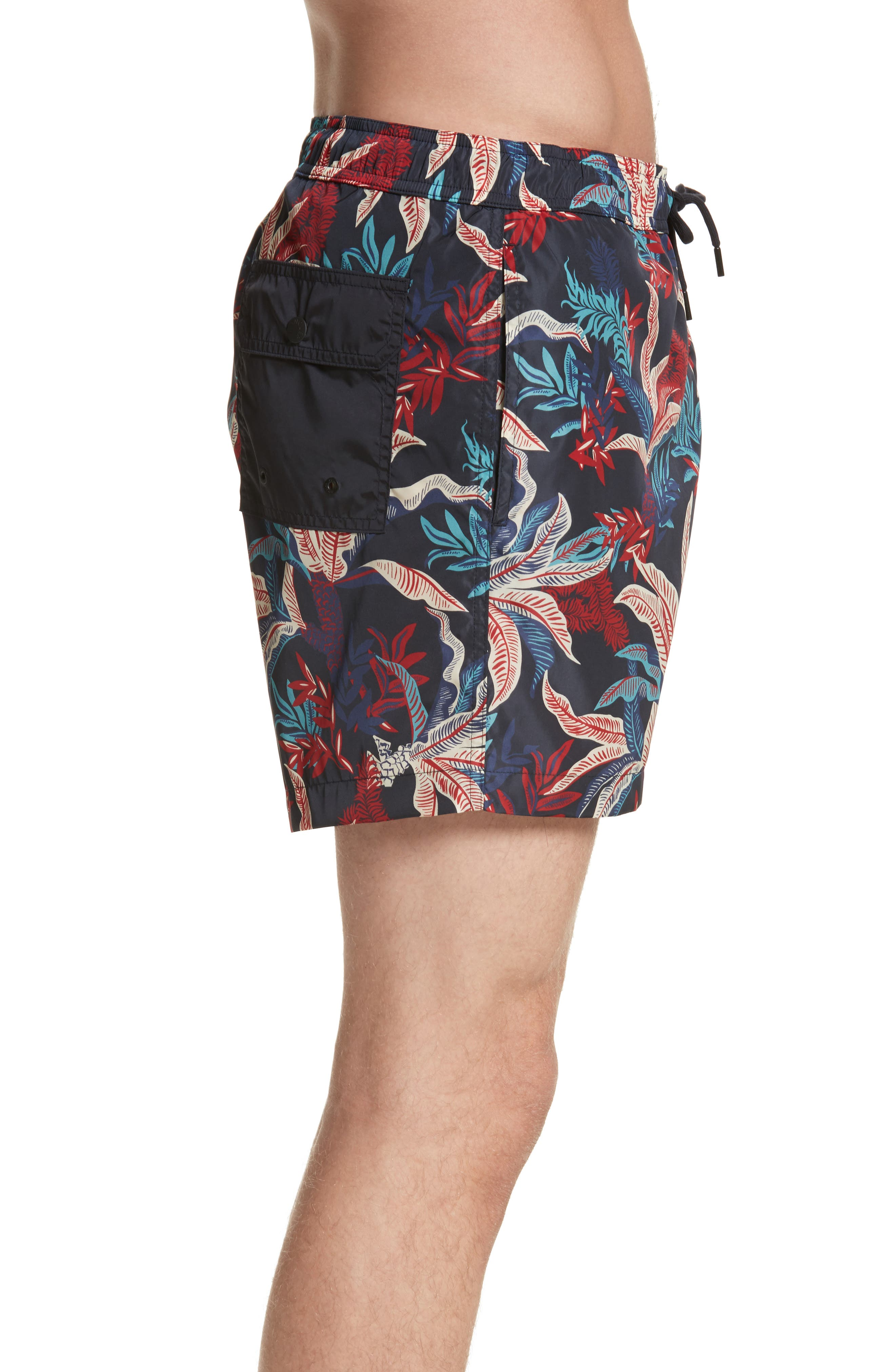 Floral Print Swim Trunks,                             Alternate thumbnail 3, color,                             Dark Blue