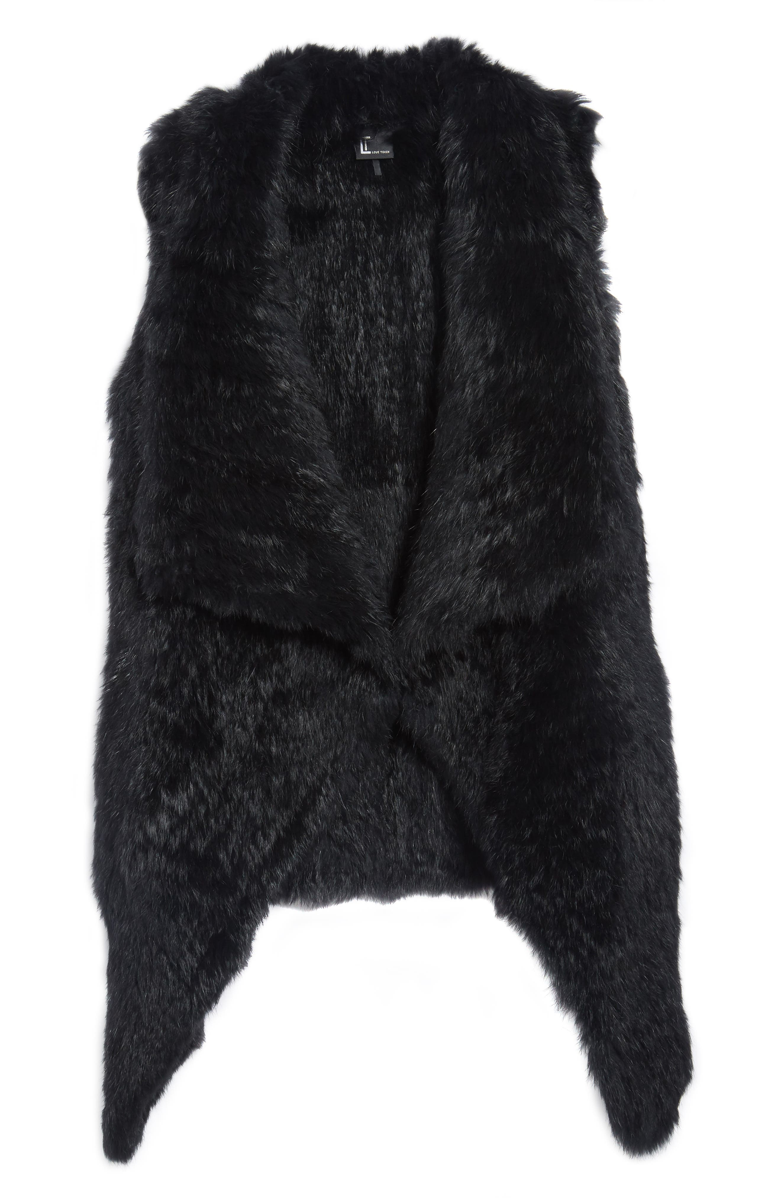 Alternate Image 6  - Love Token Long Drape Genuine Rabbit Fur Vest
