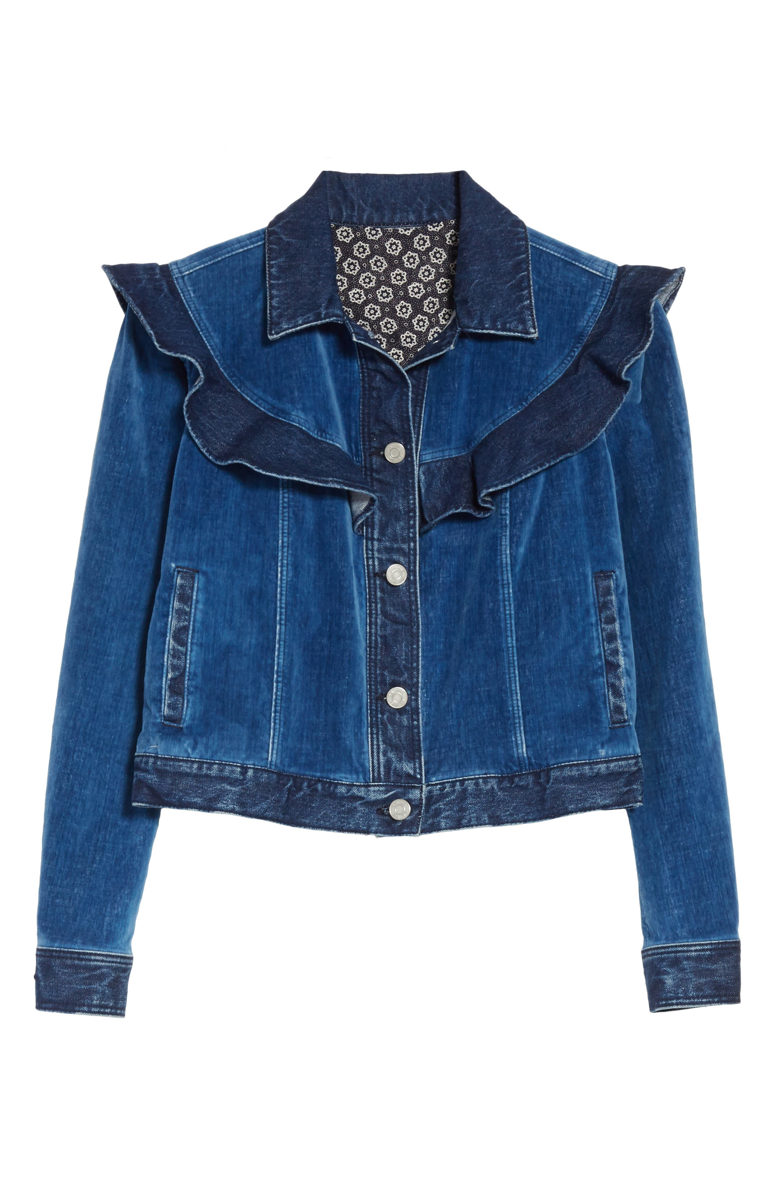 Velvet Denim Jacket,                             Alternate thumbnail 6, color,                             Dark Blueprint Patch Wash