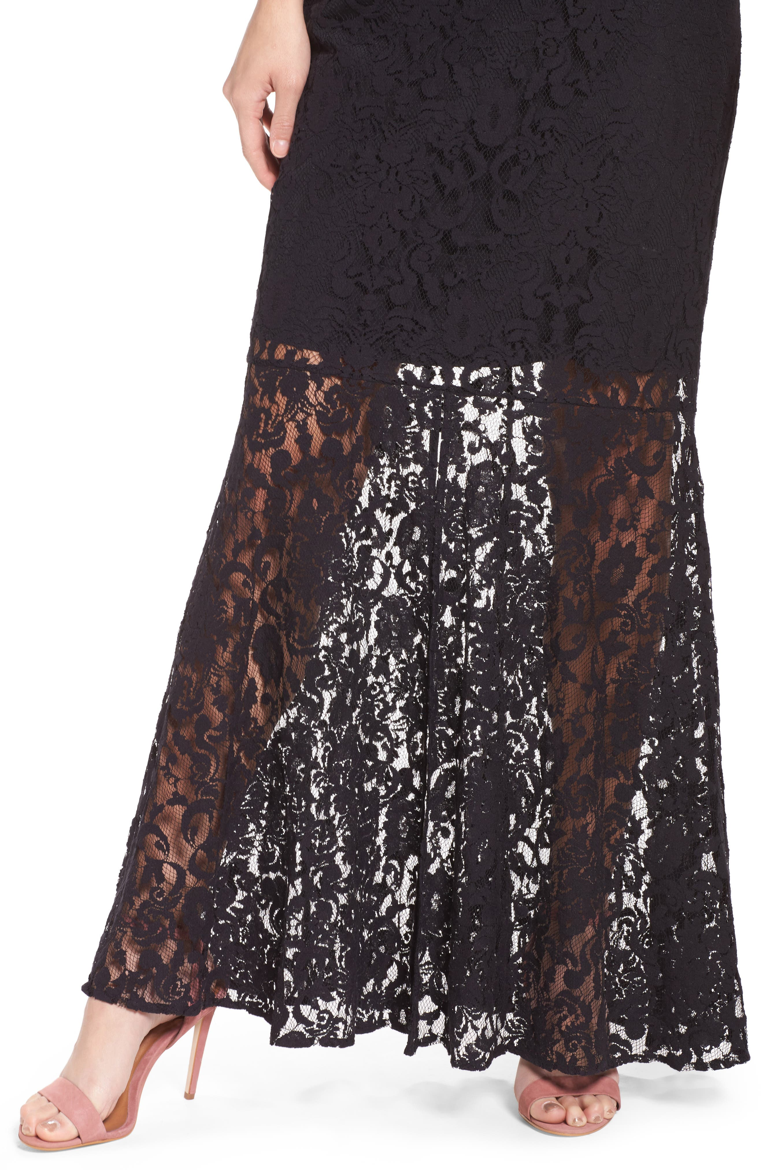 Beautiful People Cutout Lace Gown,                             Alternate thumbnail 5, color,                             Black