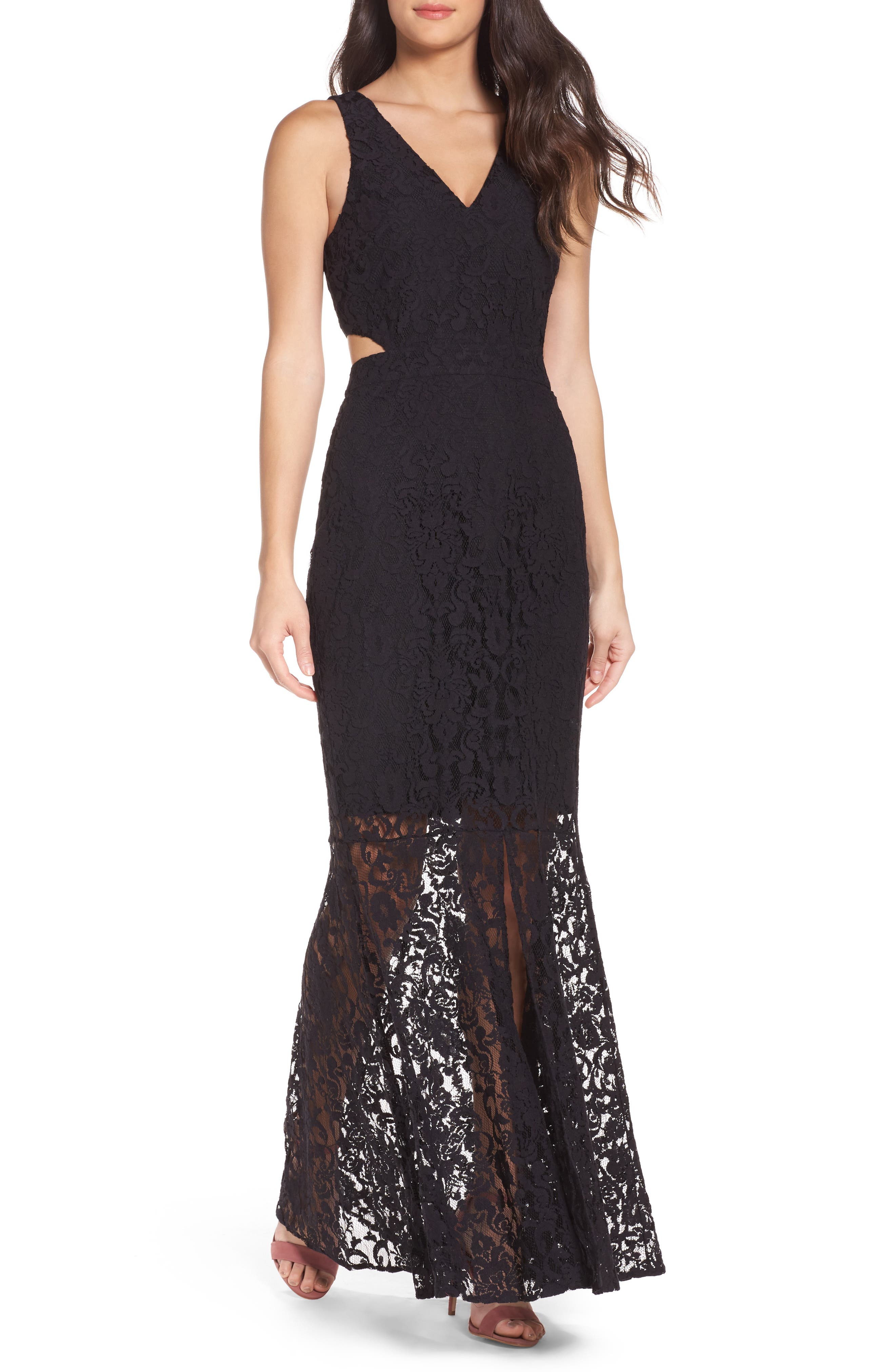 Beautiful People Cutout Lace Gown,                             Main thumbnail 1, color,                             Black