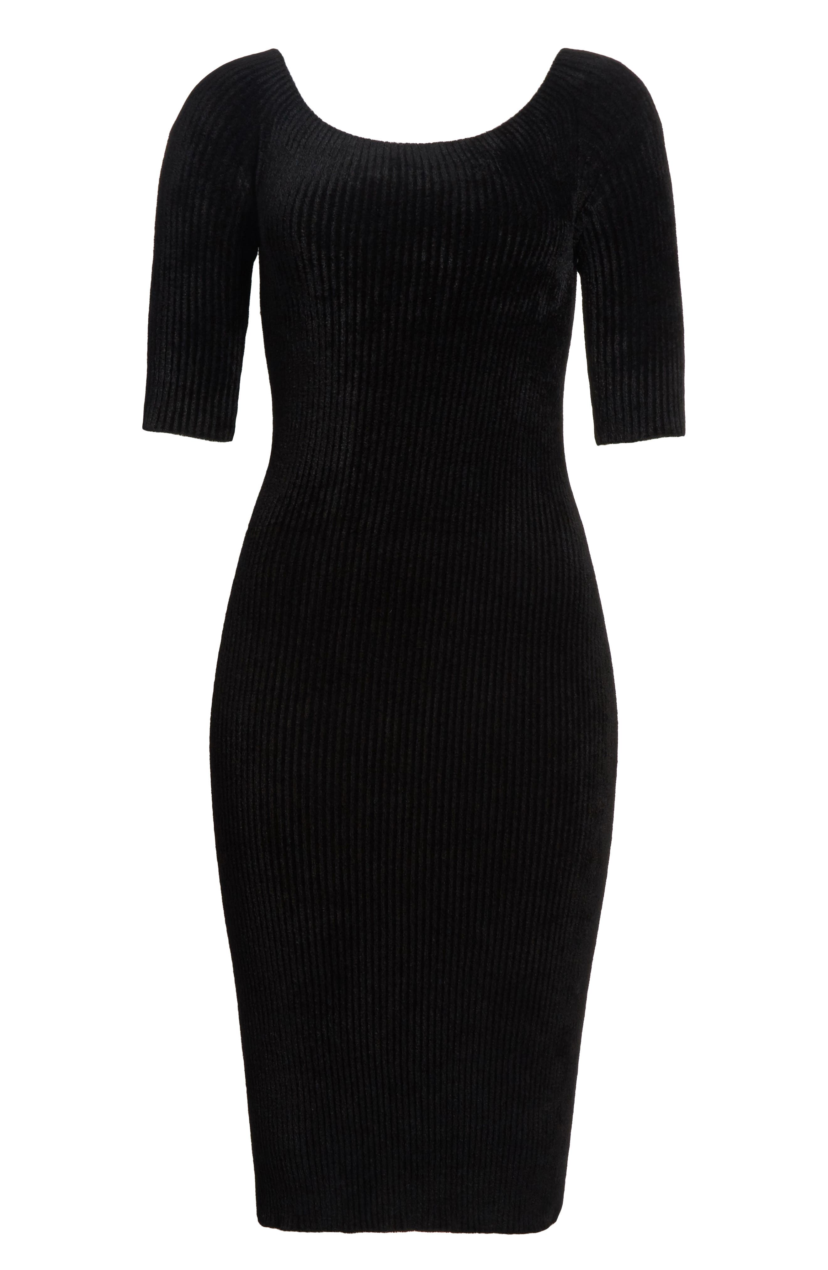 Alternate Image 6  - Helmut Lang Ribbed Velveteen Body-Con Dress