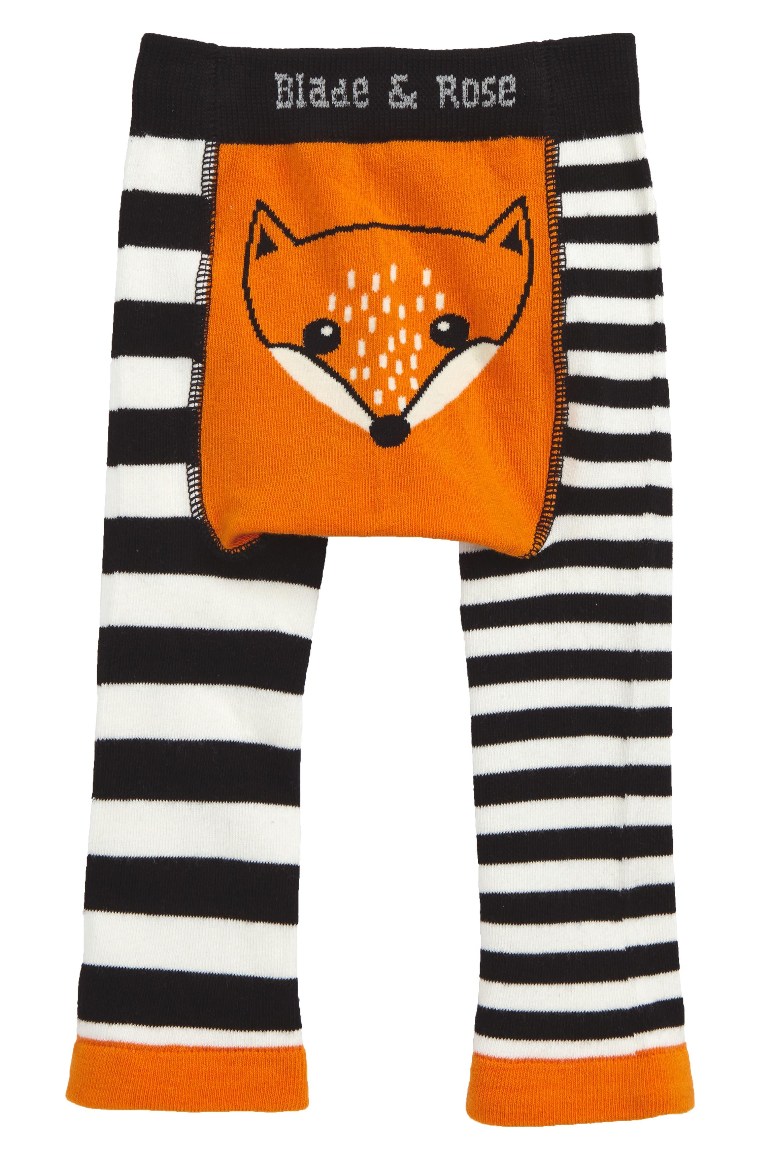 Fox Leggings,                         Main,                         color, Orange/ Black/ Cream