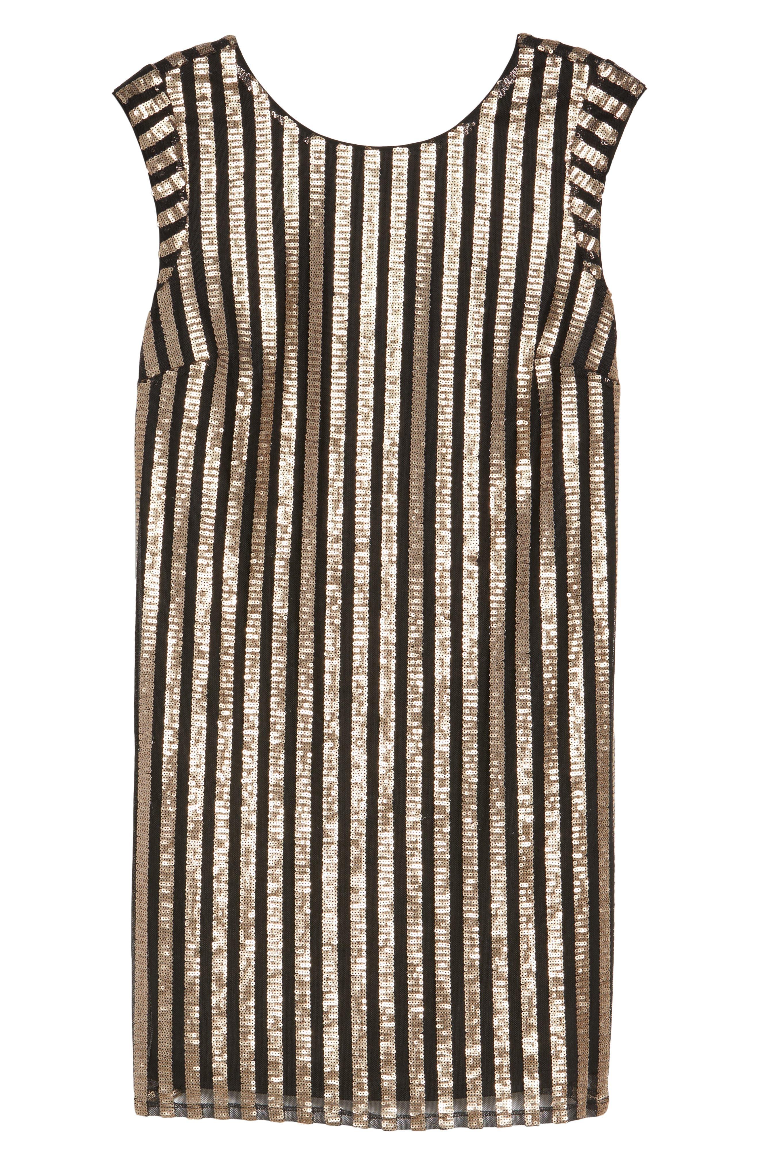 Bianca Sequin Minidress,                             Alternate thumbnail 7, color,                             Gold Sequin Stripe