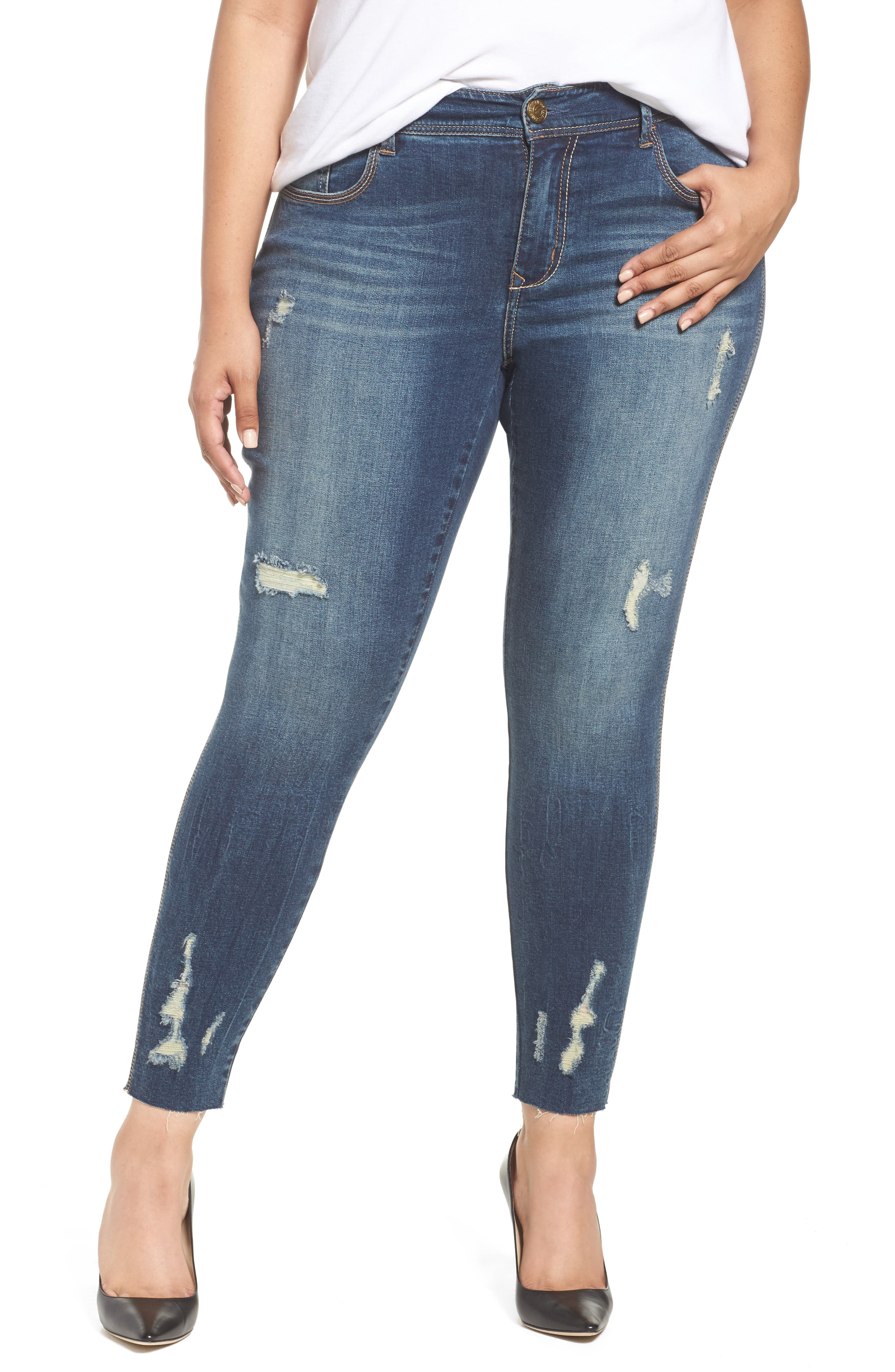 Distressed Raw Hem Skinny Jeans,                             Main thumbnail 1, color,                             Melbourne