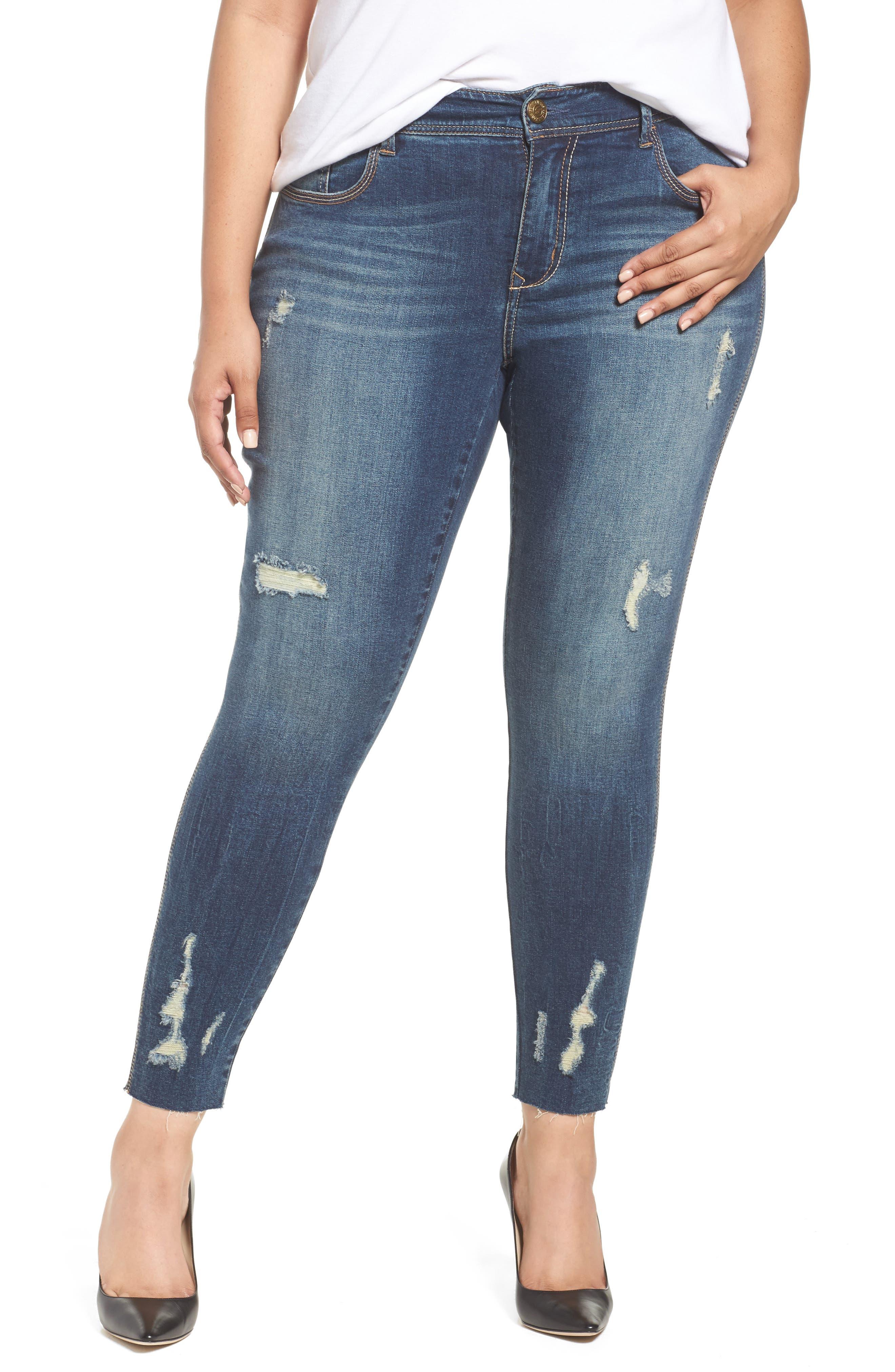 Main Image - Seven7 Distressed Raw Hem Skinny Jeans (Melbourne) (Plus Size)