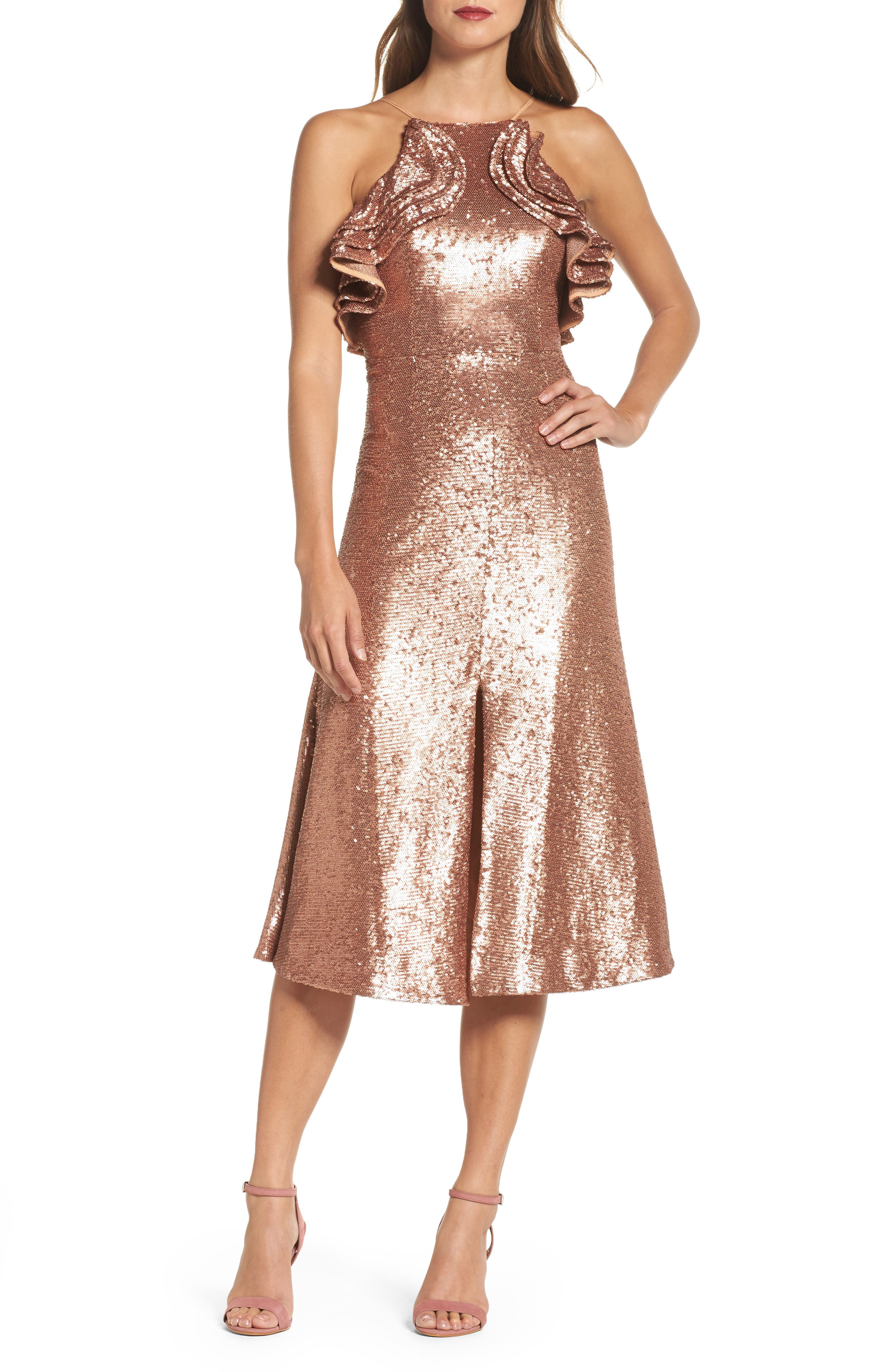 Illuminated Sequin Ruffle Midi Dress,                             Main thumbnail 1, color,                             Copper