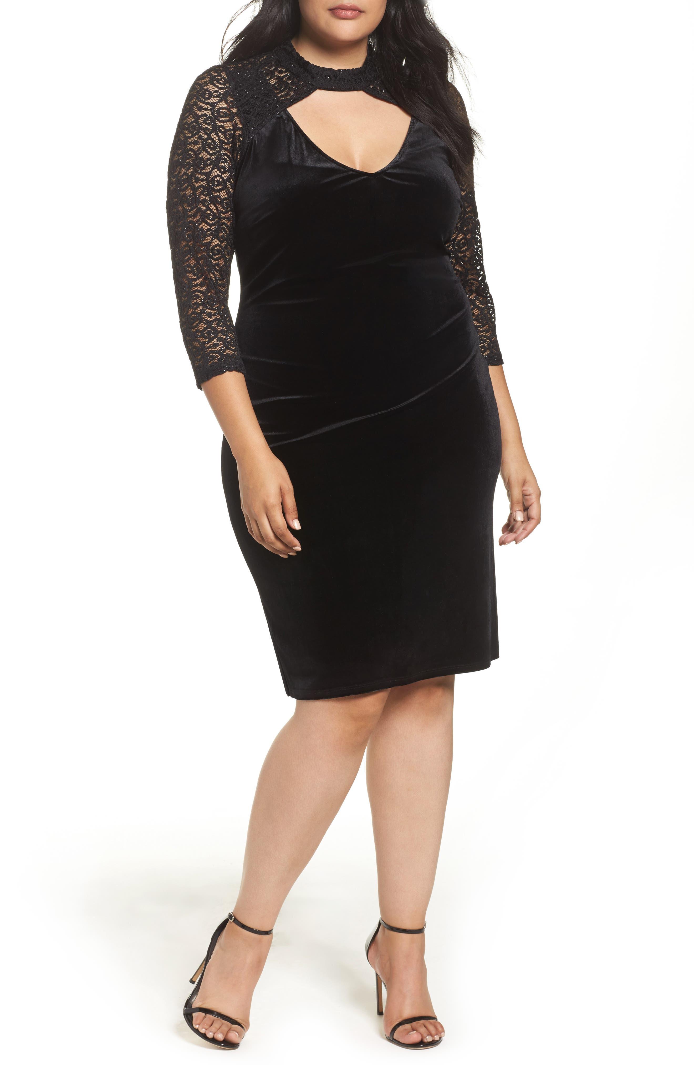 Velvet & Glitter Lace Sheath Dress,                             Main thumbnail 1, color,                             Black
