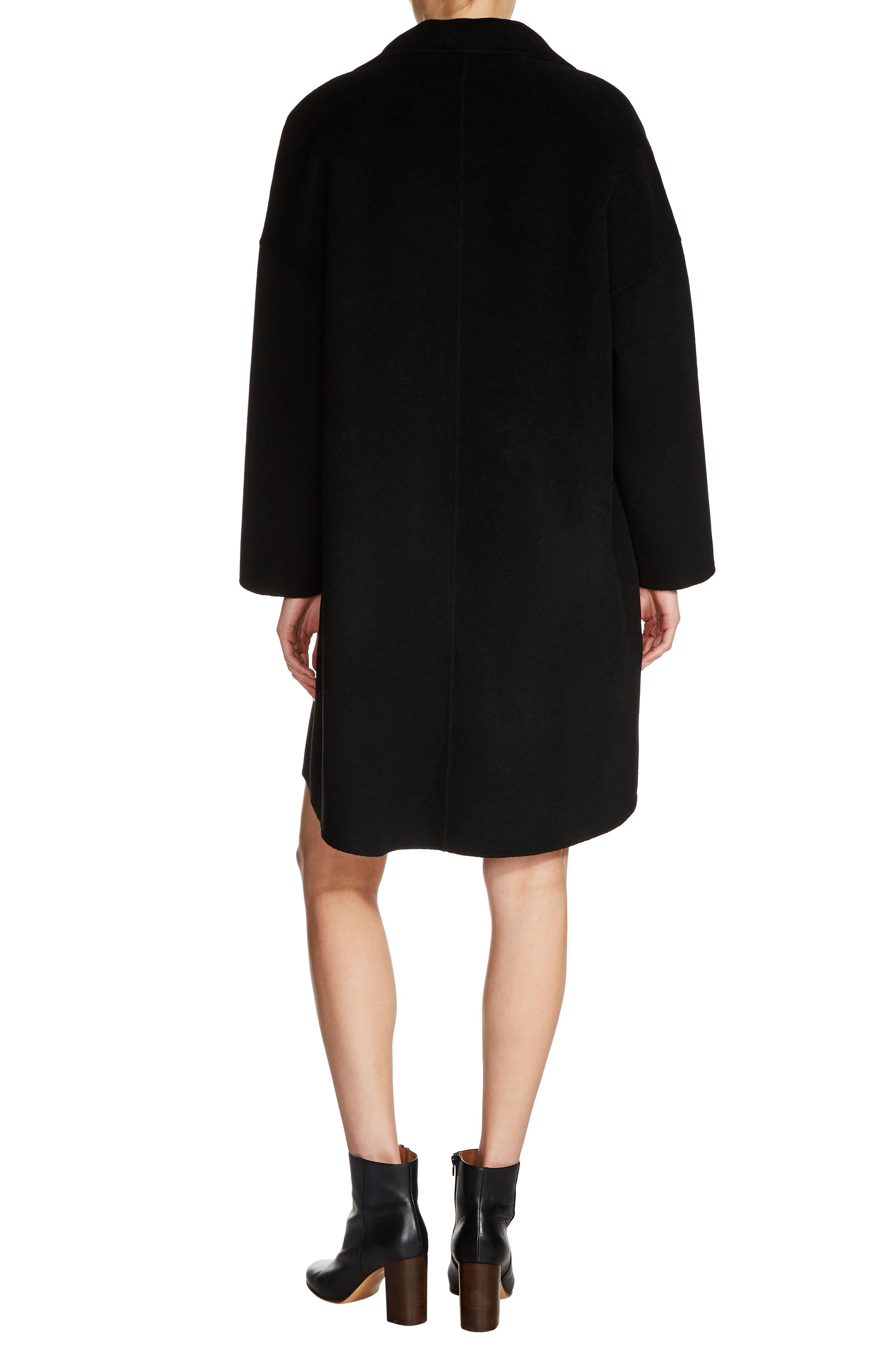 Zip Pocket Double-Face Coat,                             Alternate thumbnail 2, color,                             Black