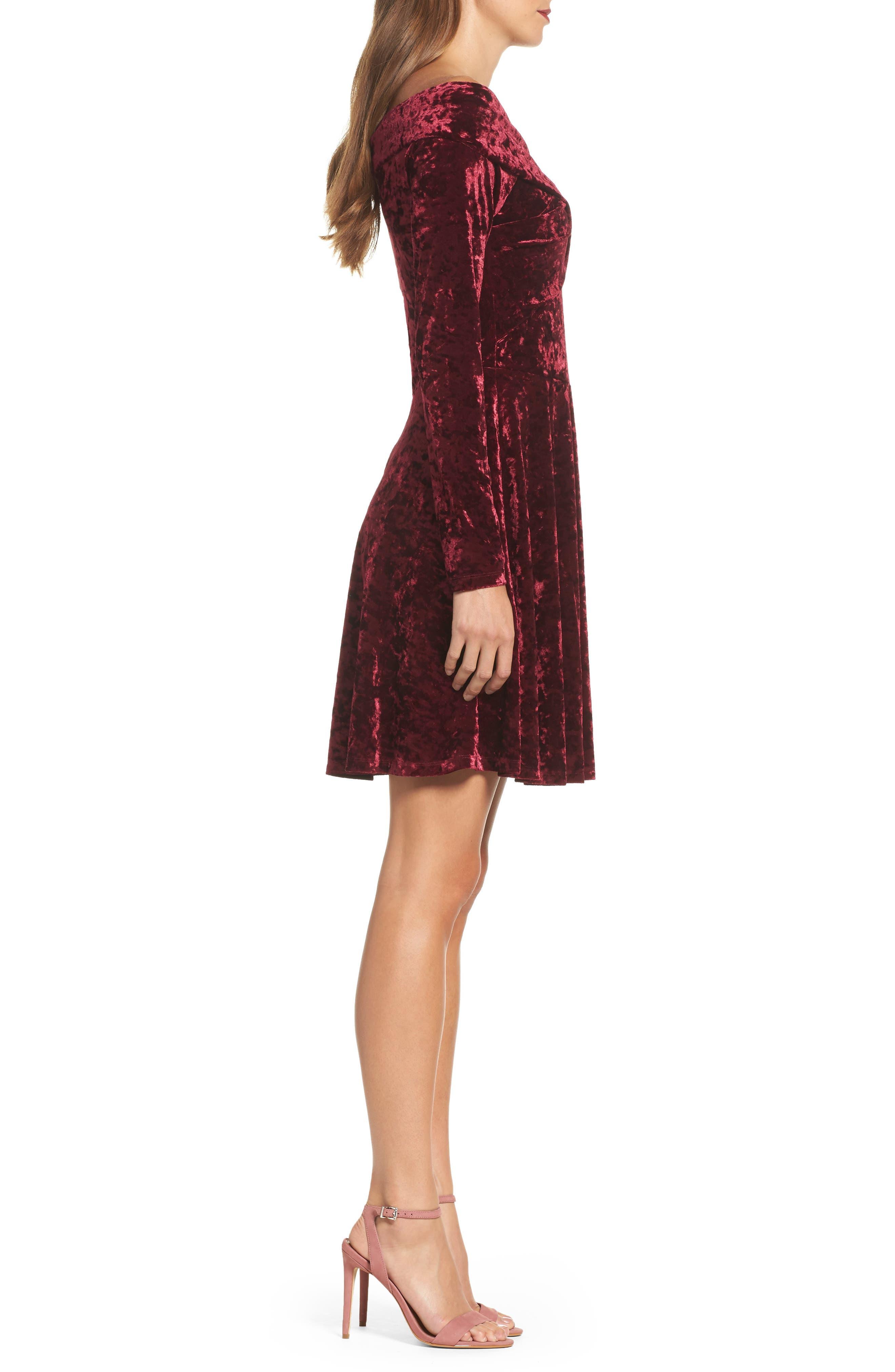 Off the Shoulder Velvet A-Line Dress,                             Alternate thumbnail 3, color,                             Burgundy Fig