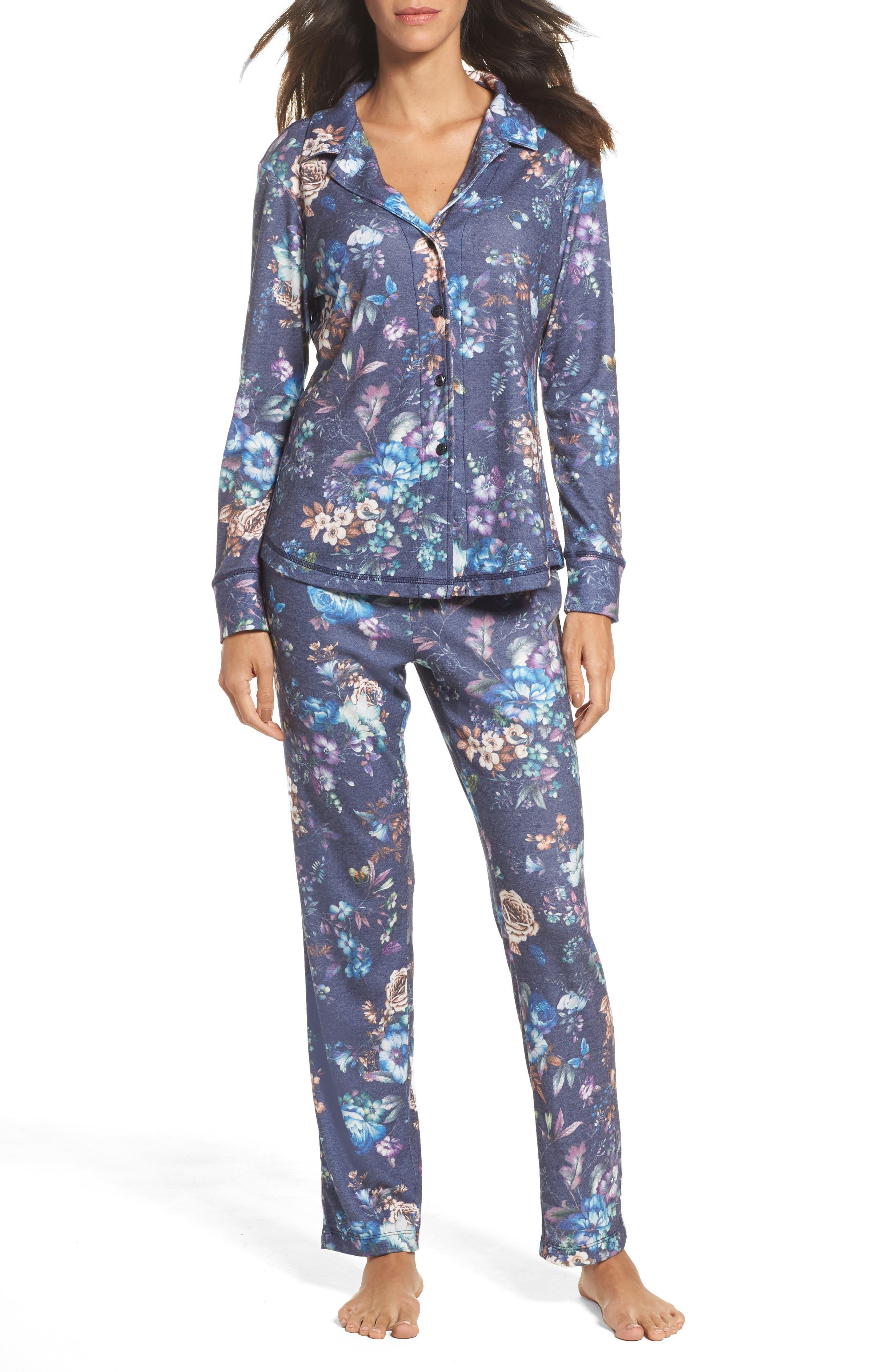 Clara Flannel Pajamas,                         Main,                         color, Indigo