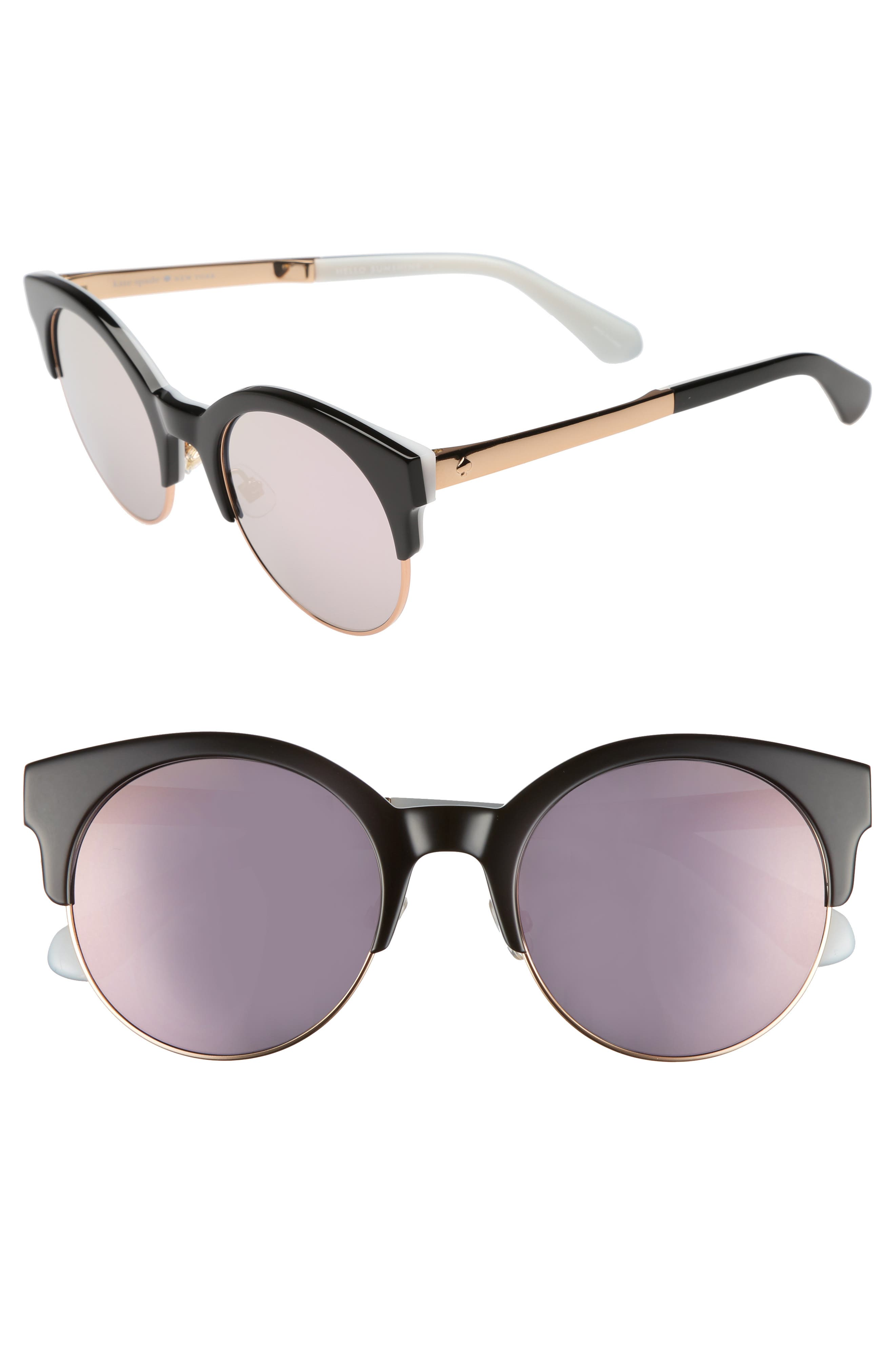 kaileen 52mm semi-rimless cat eye sunglasses,                         Main,                         color, Black White