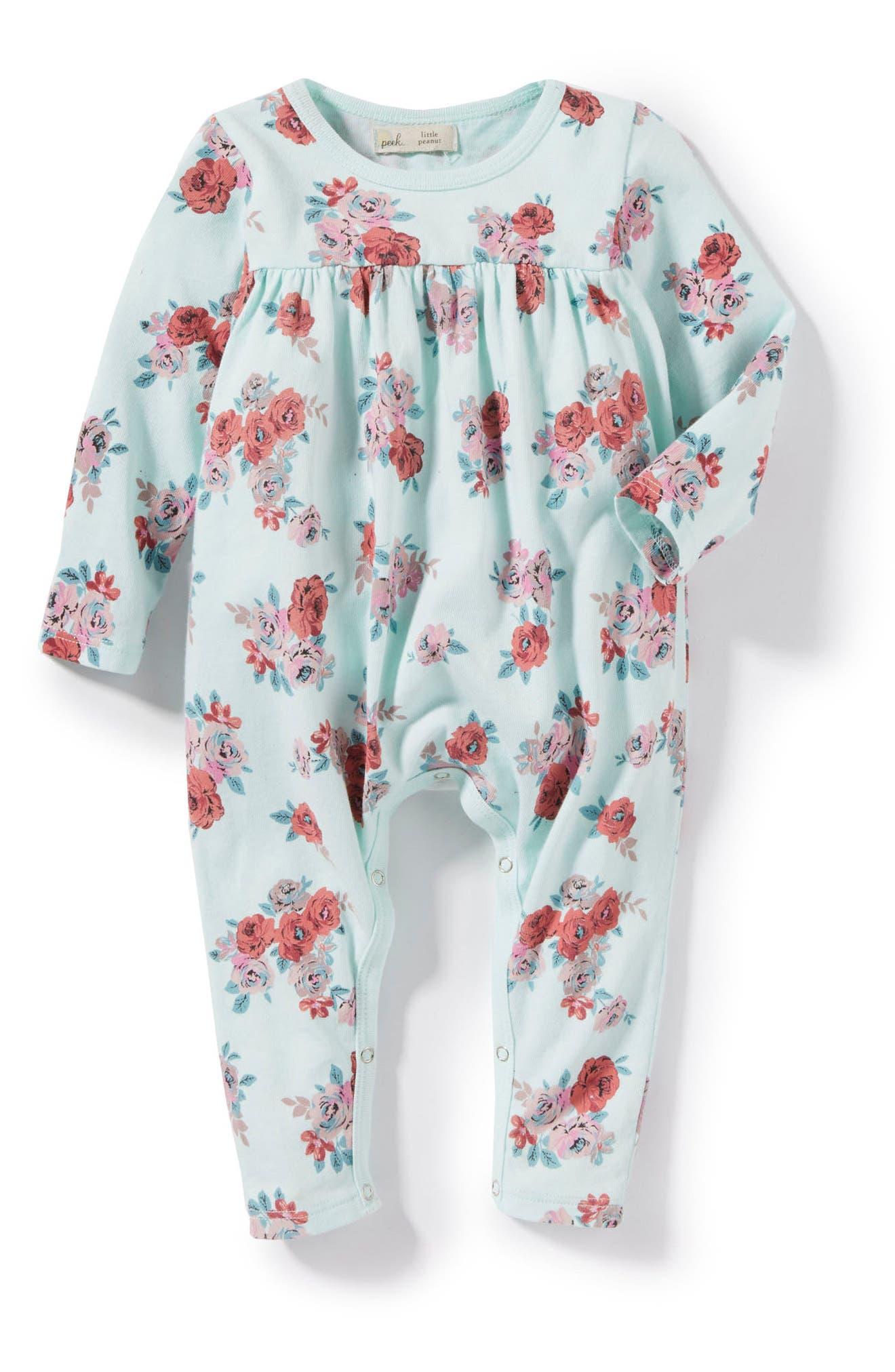 Main Image - Peek Floral Romper (Baby Girls)