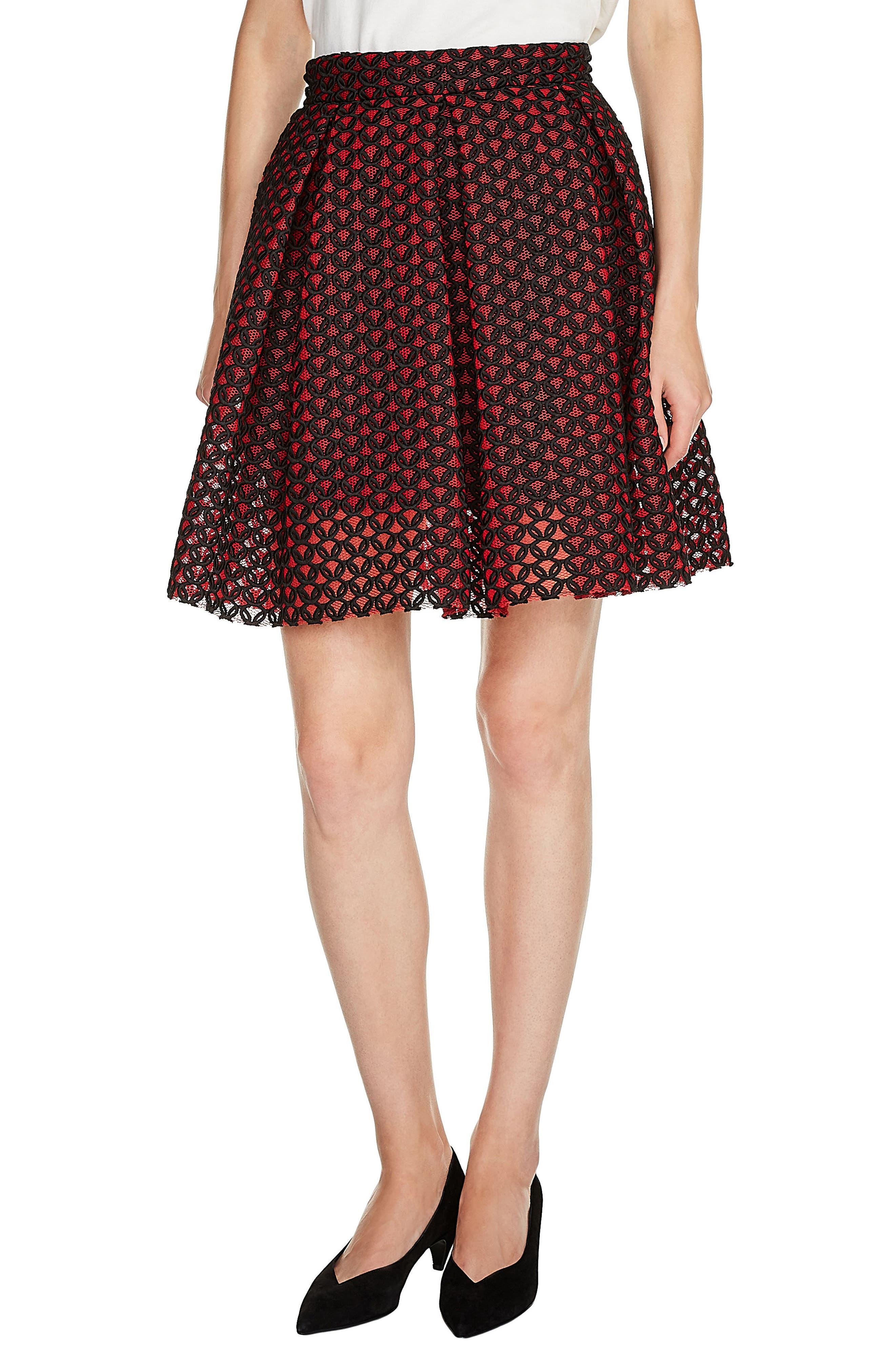 Guipure Skater Skirt,                         Main,                         color, Rouge