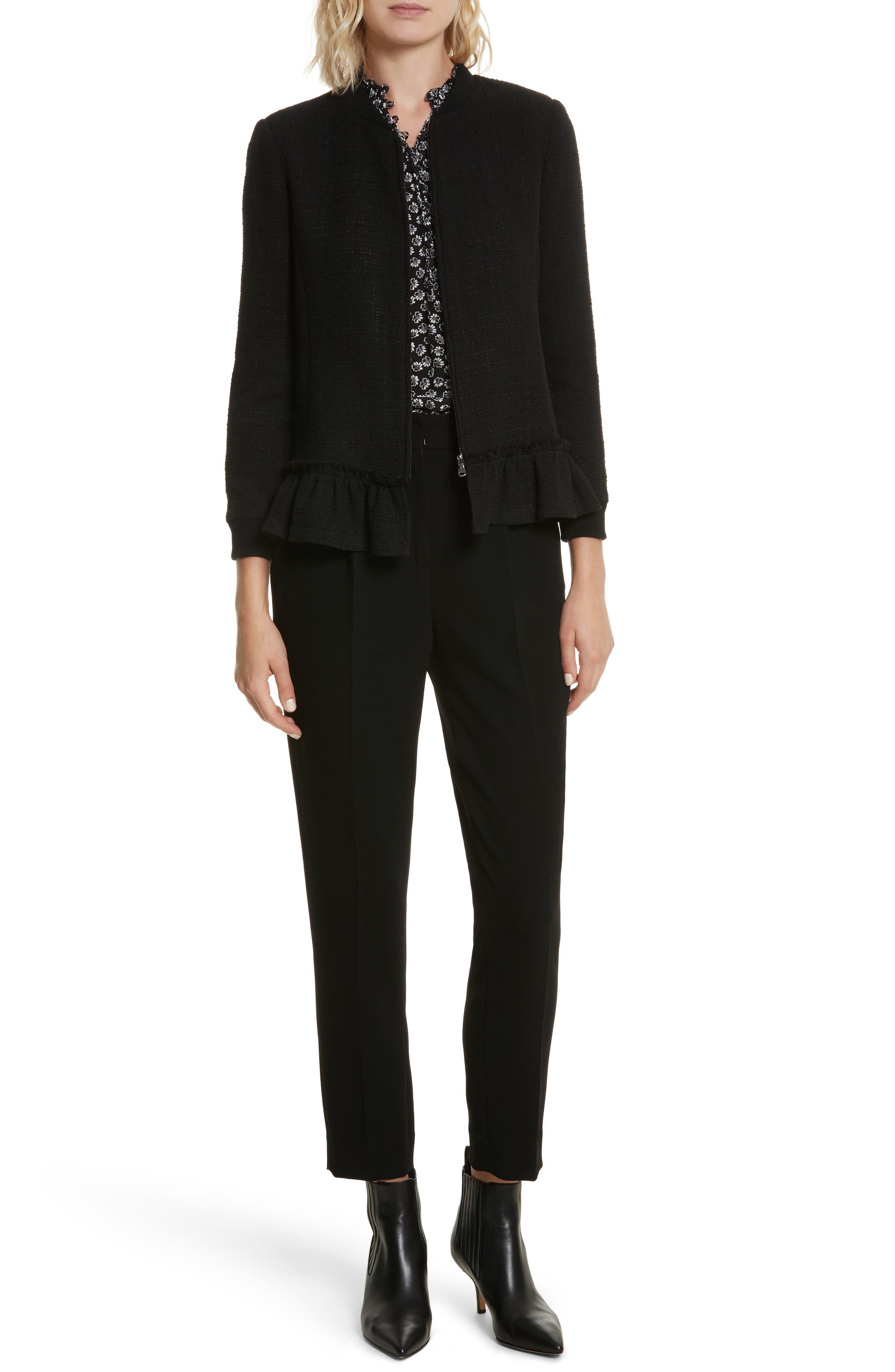 Textured Tweed Jacket,                             Alternate thumbnail 2, color,                             Black