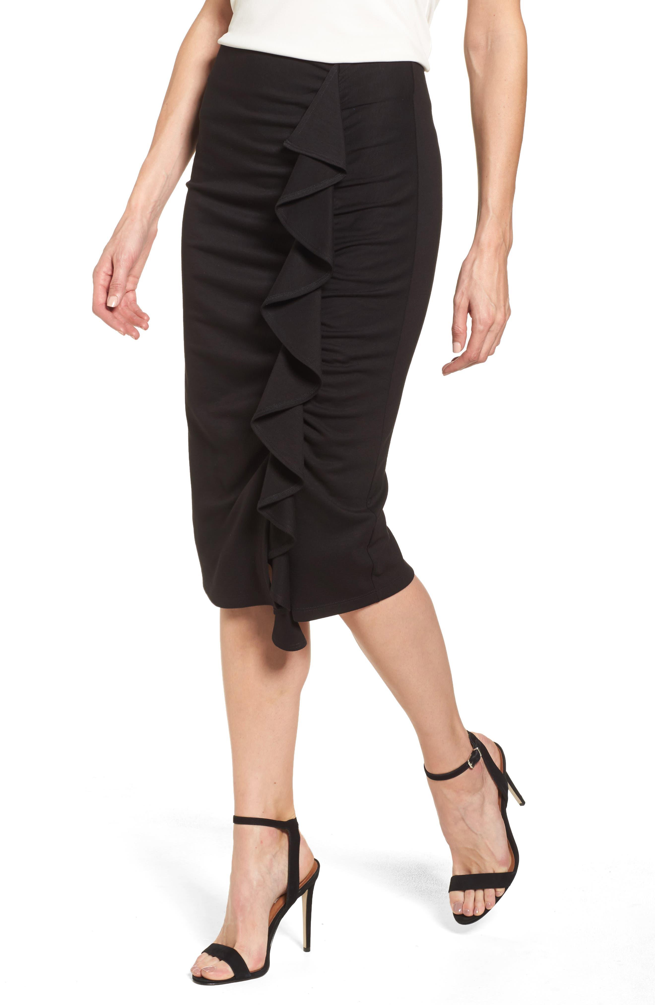 Side Ruffle Pencil Skirt,                             Main thumbnail 1, color,                             Black