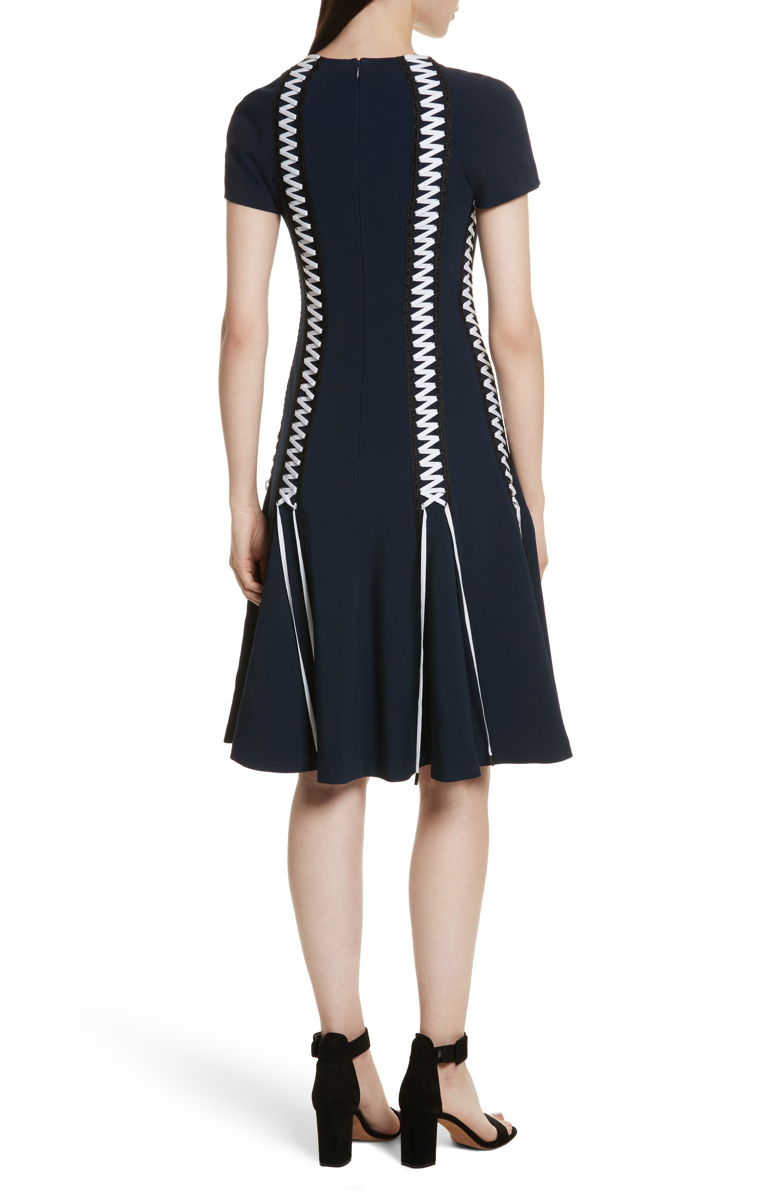Lace-Up Crepe Dress,                             Alternate thumbnail 2, color,                             Midnight Combo