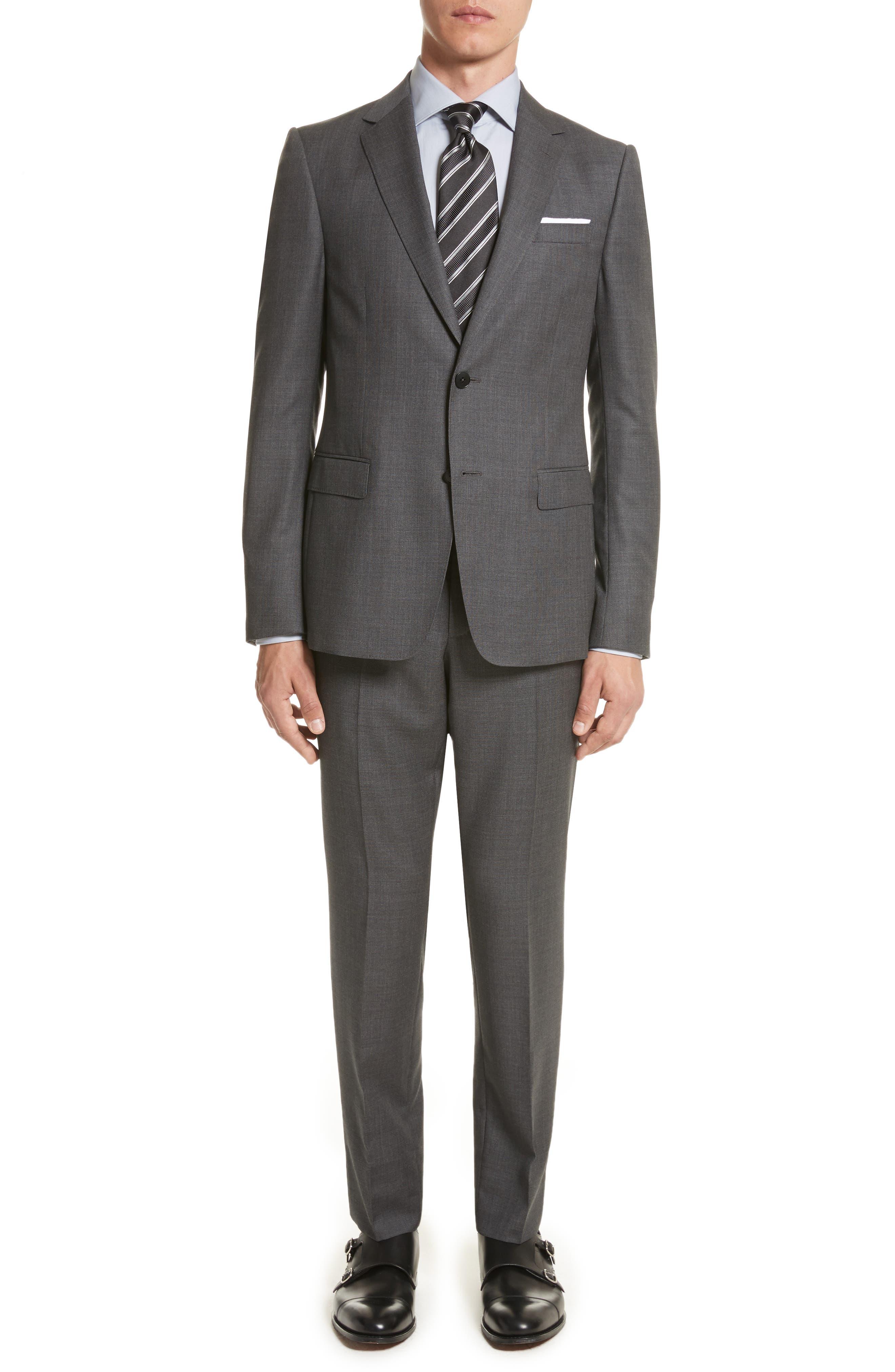 Classic Fit Wool Suit,                         Main,                         color, Dark Grey Solid