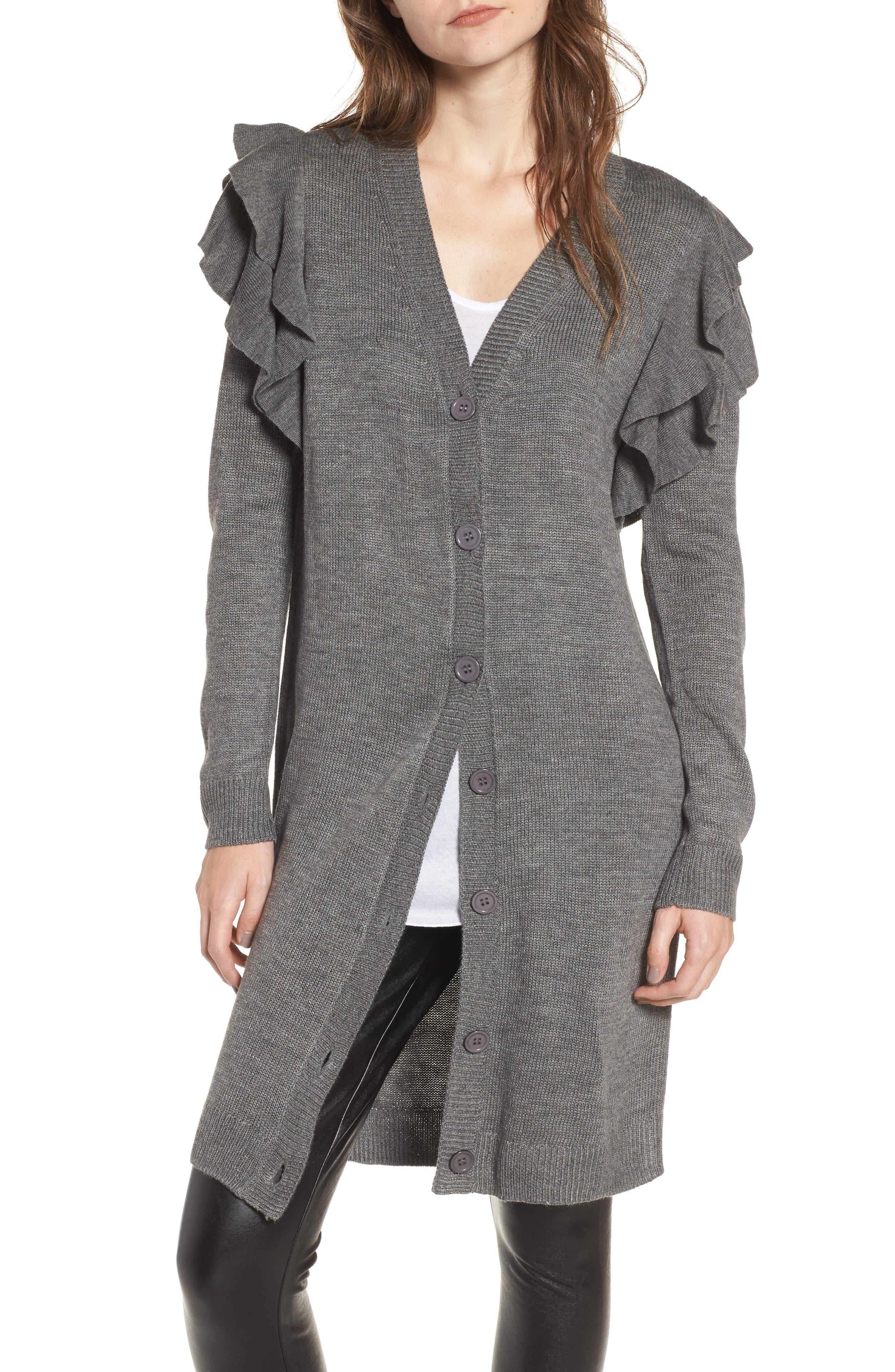 Ruffle Shoulder Cardigan,                         Main,                         color, Grey