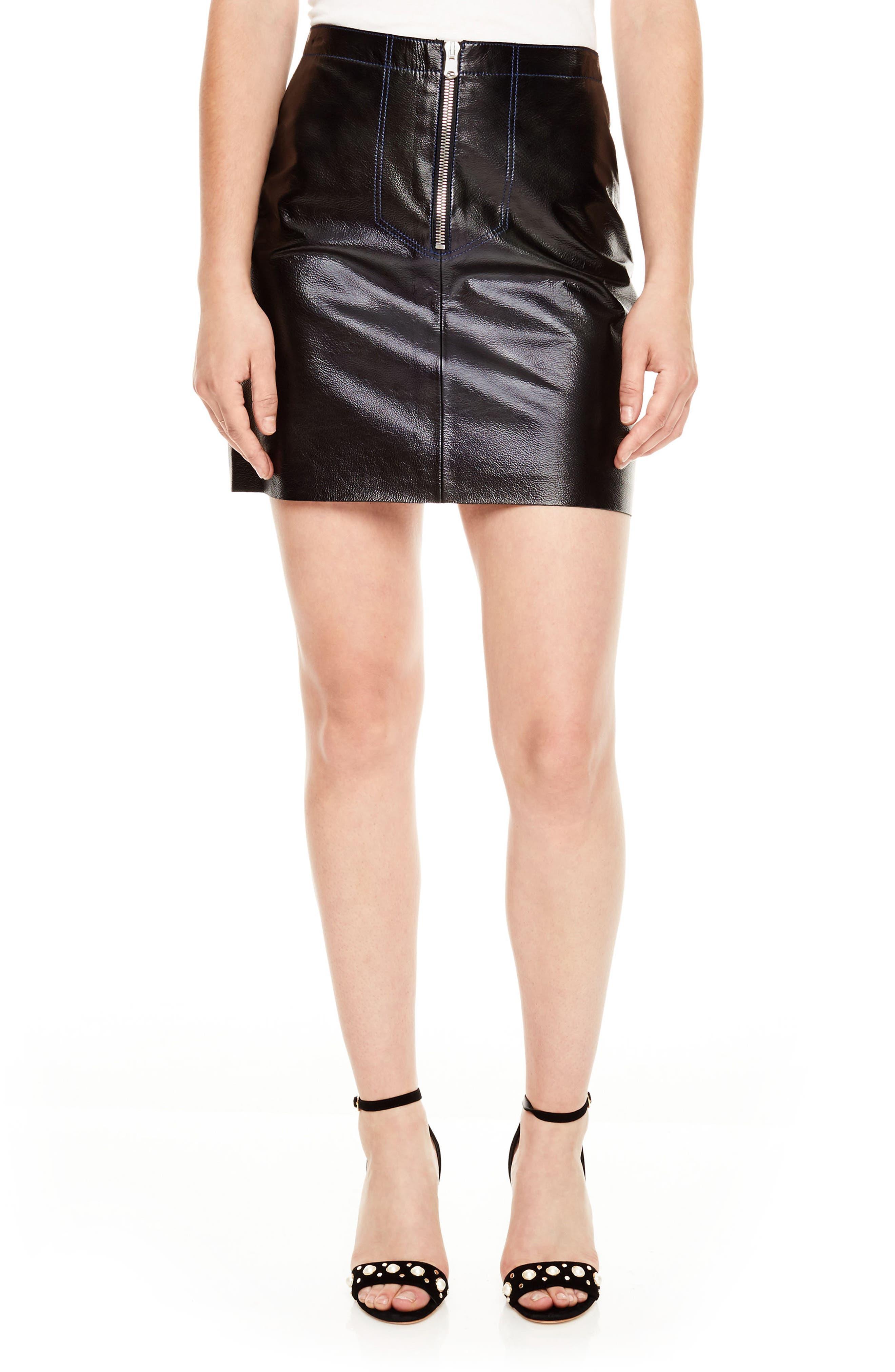 Main Image - sandro Leather Miniskirt