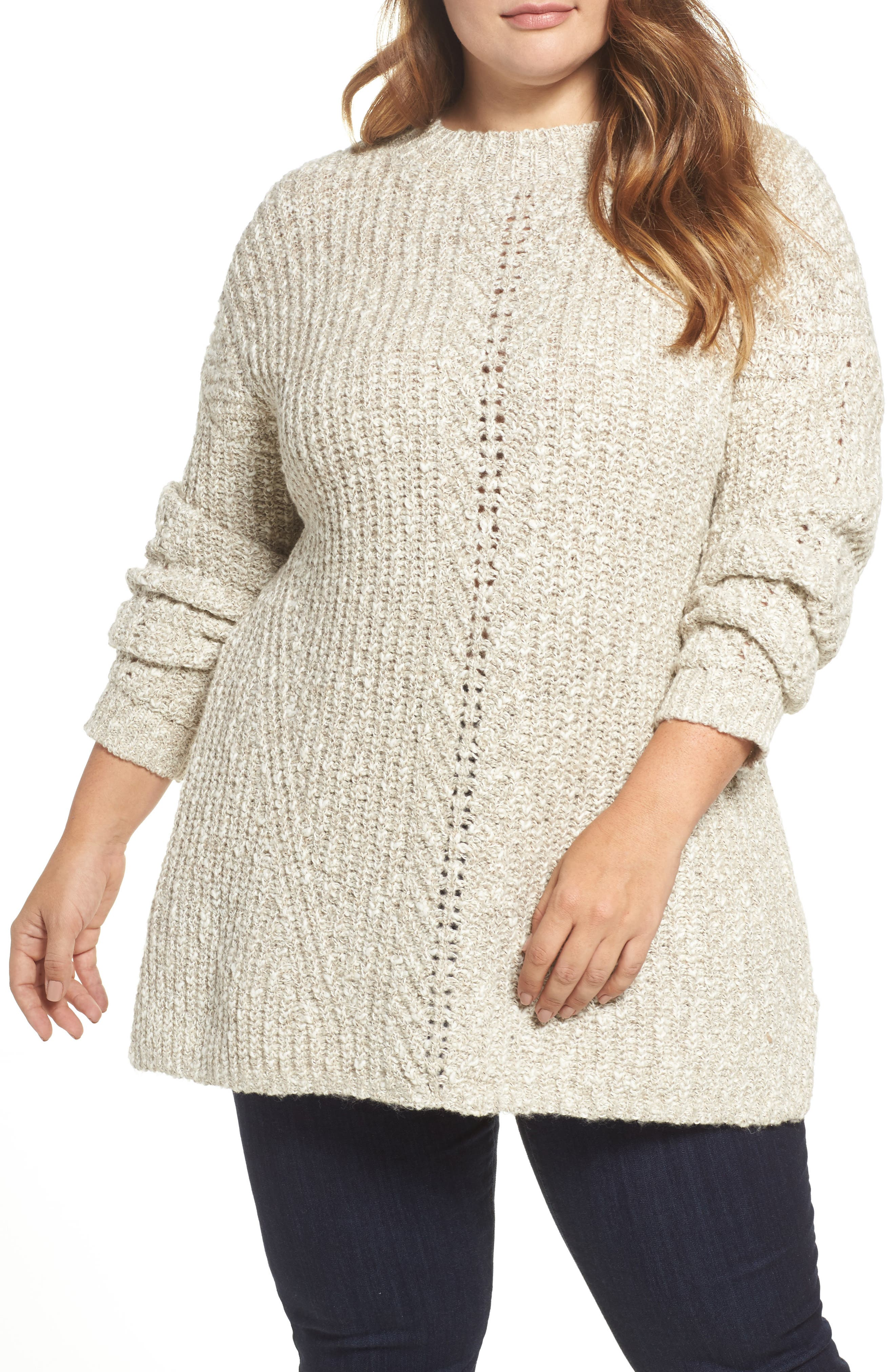 Open Stitch Sweater,                             Main thumbnail 1, color,                             Natural Multi