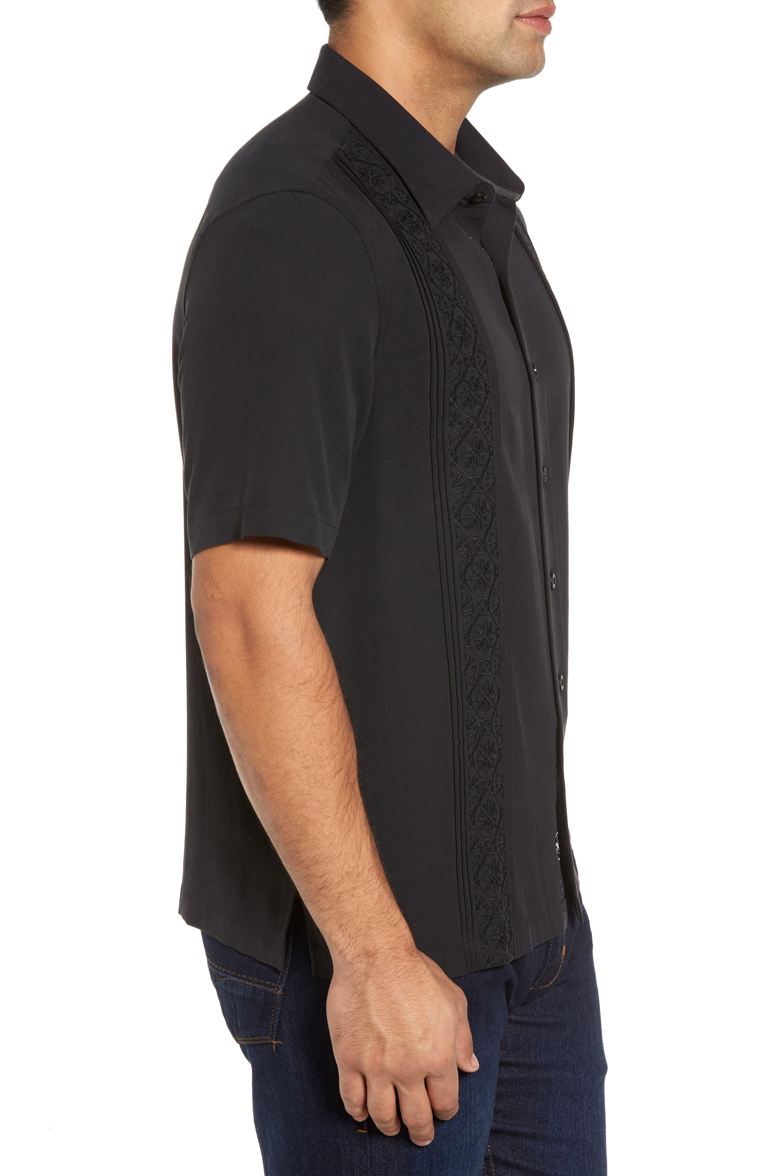 Regular Fit Embroidered Silk Sport Shirt,                             Alternate thumbnail 3, color,                             Black