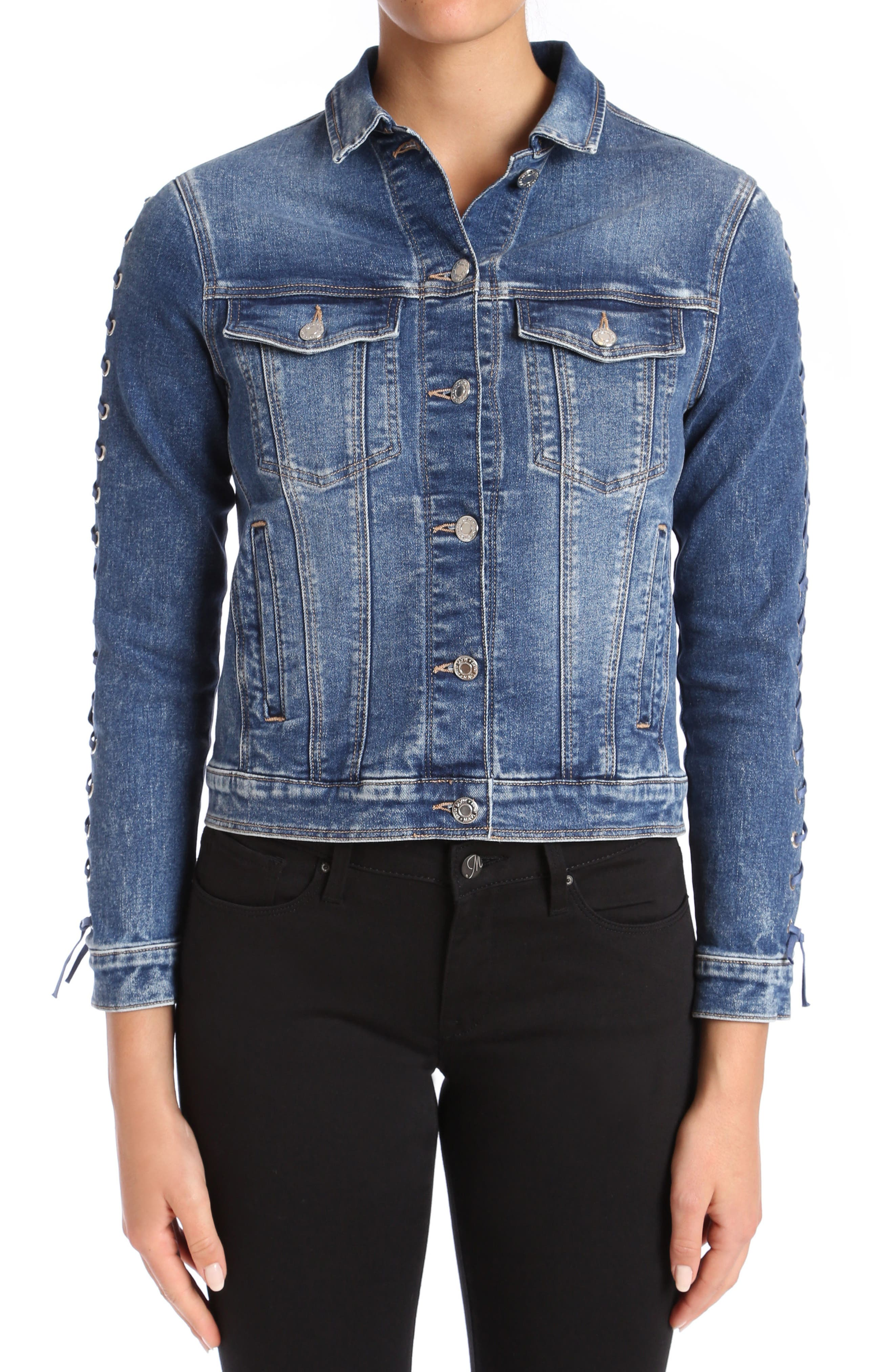 Katy Lace-Up Sleeve Denim Jacket,                         Main,                         color, Dark Indigo Eyelet