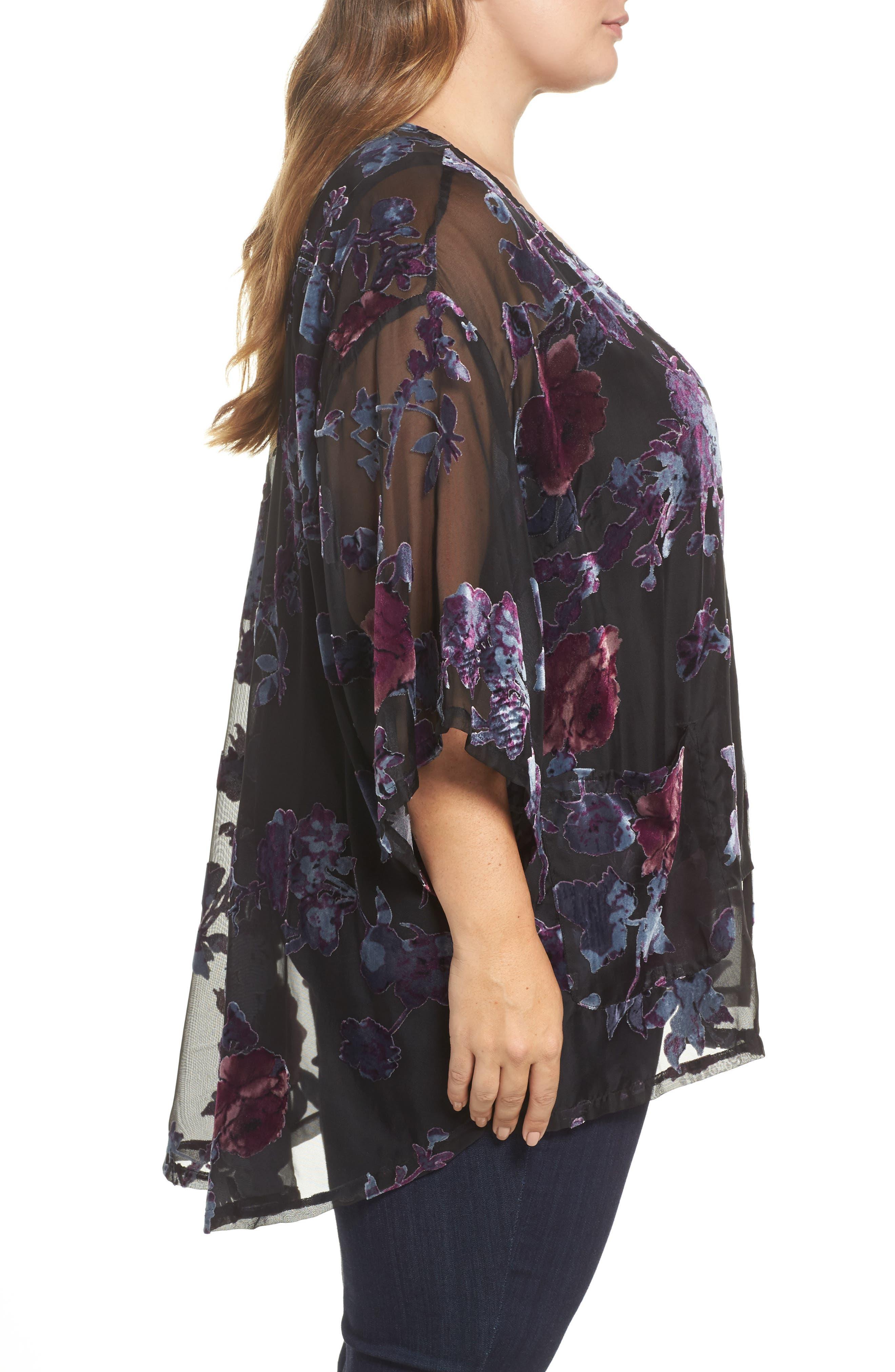 Burnout Velvet Kimono Jacket,                             Alternate thumbnail 3, color,                             Black