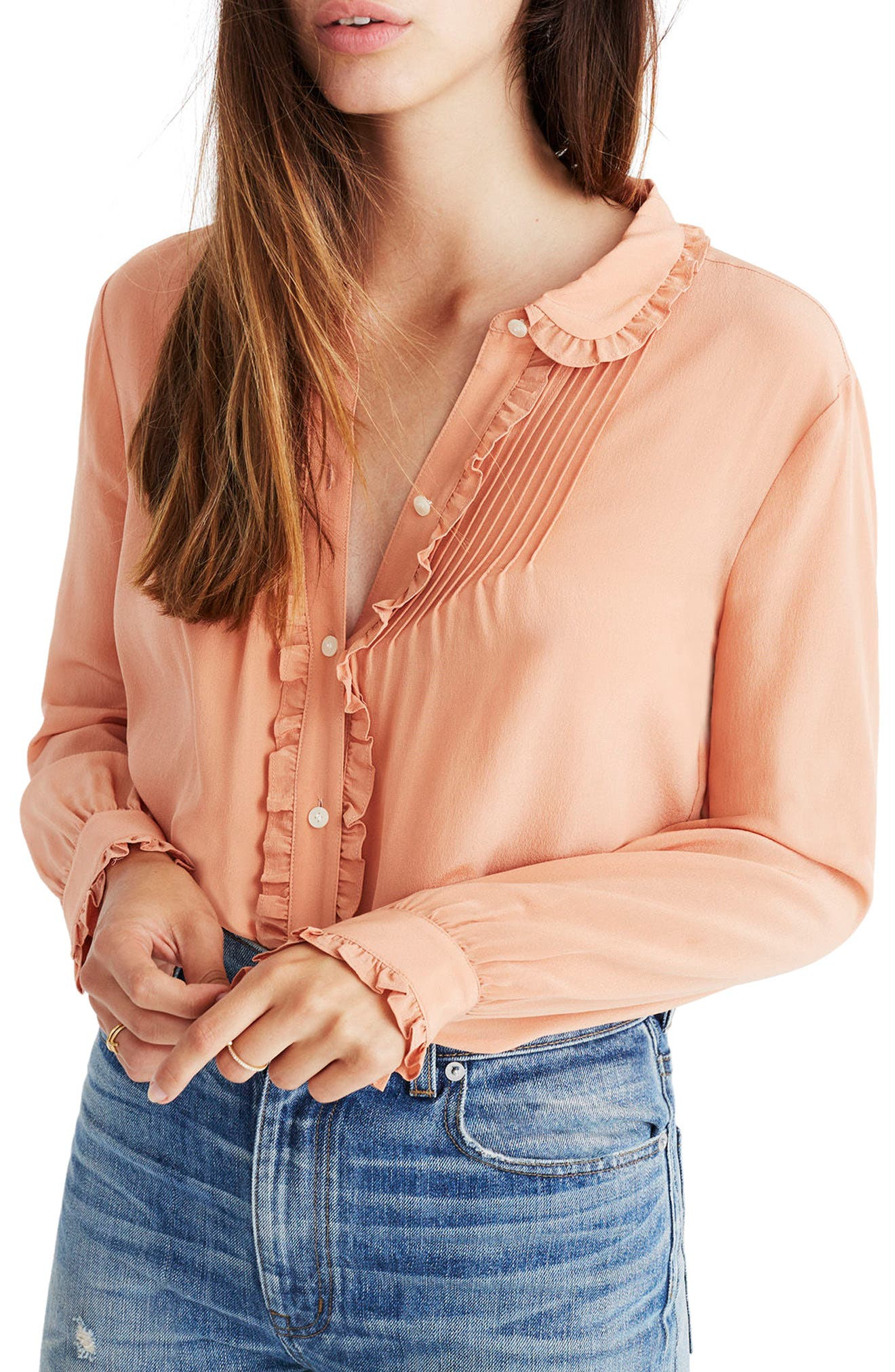 Alternate Image 1 Selected - Madewell Silk Ruffle Blouse
