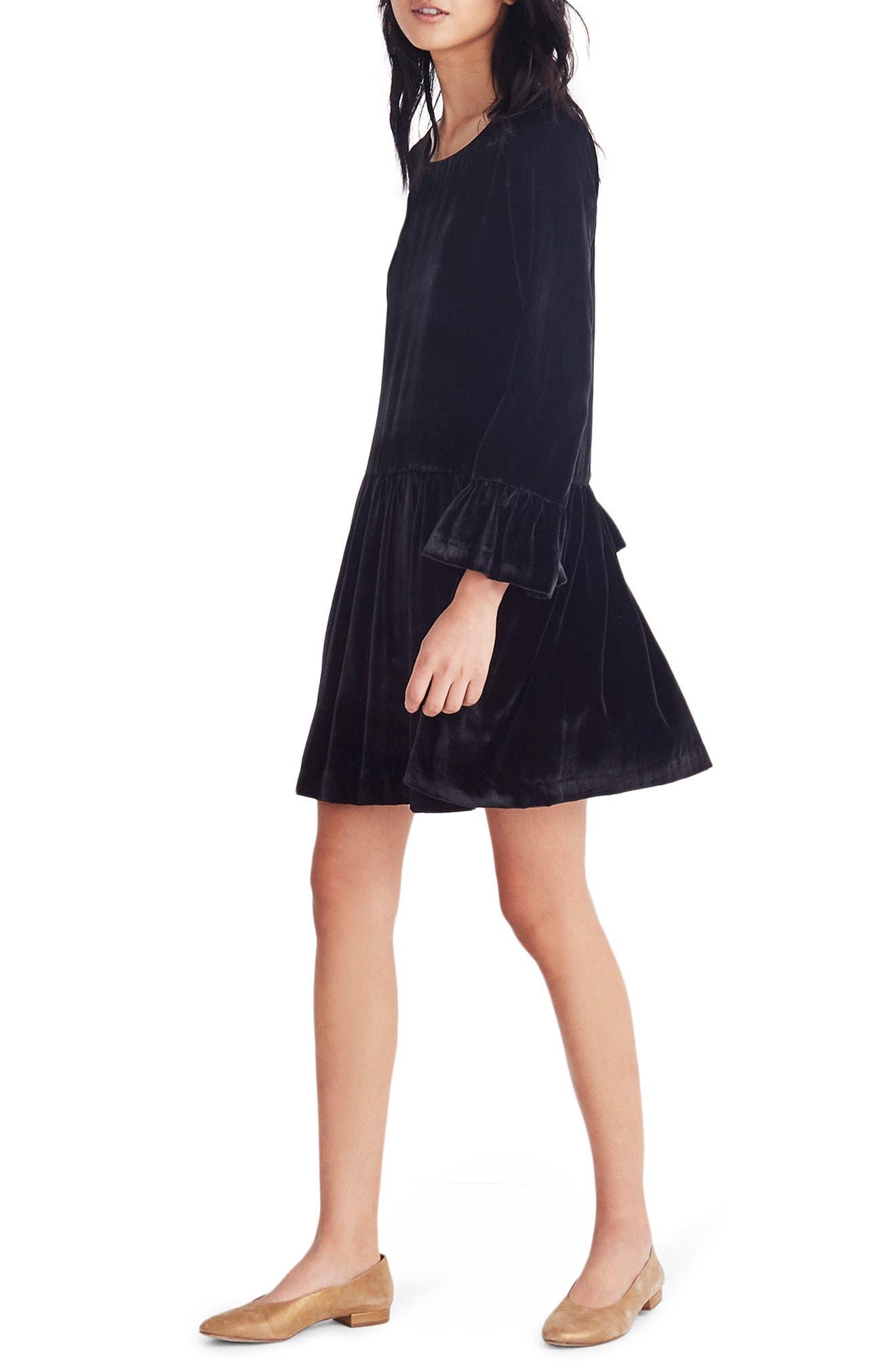 Velvet Bell Sleeve Dress,                         Main,                         color, True Black